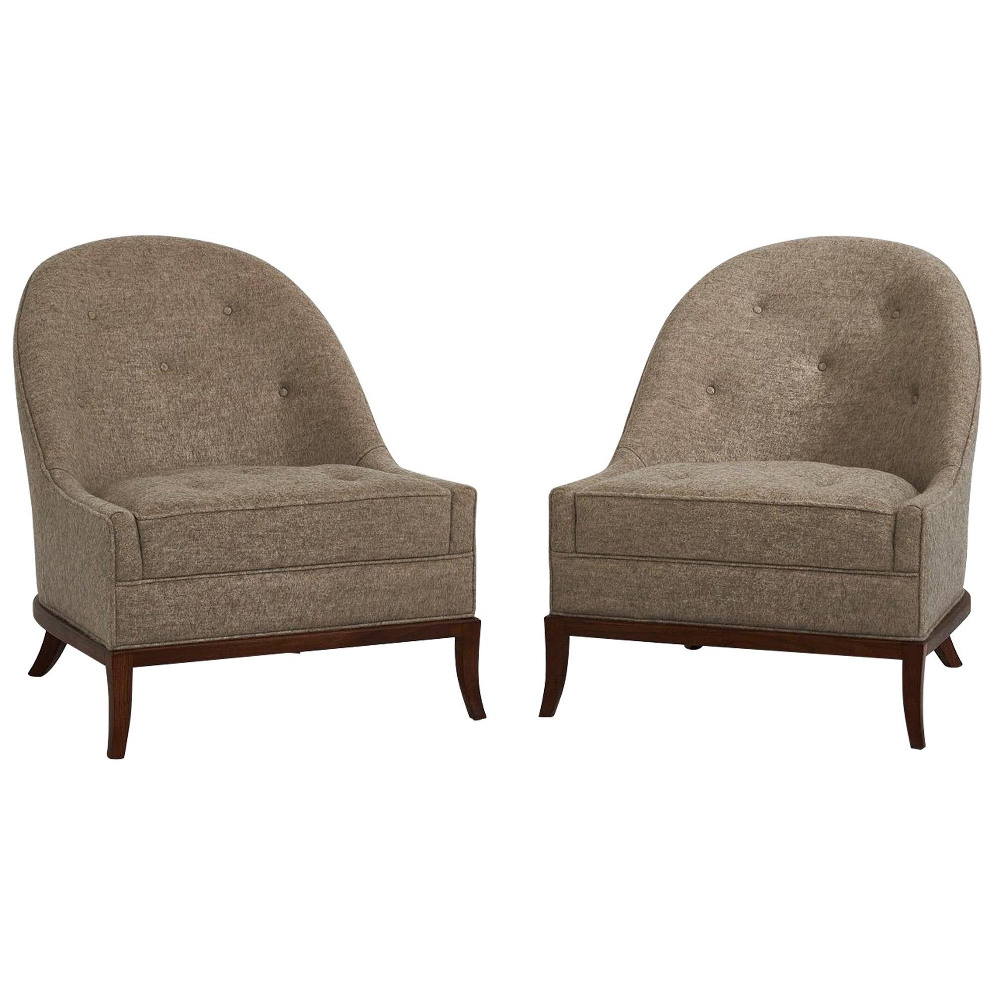 T.H. Robsjohn-Gibbings Slipper Lounge Chairs for Widdicomb