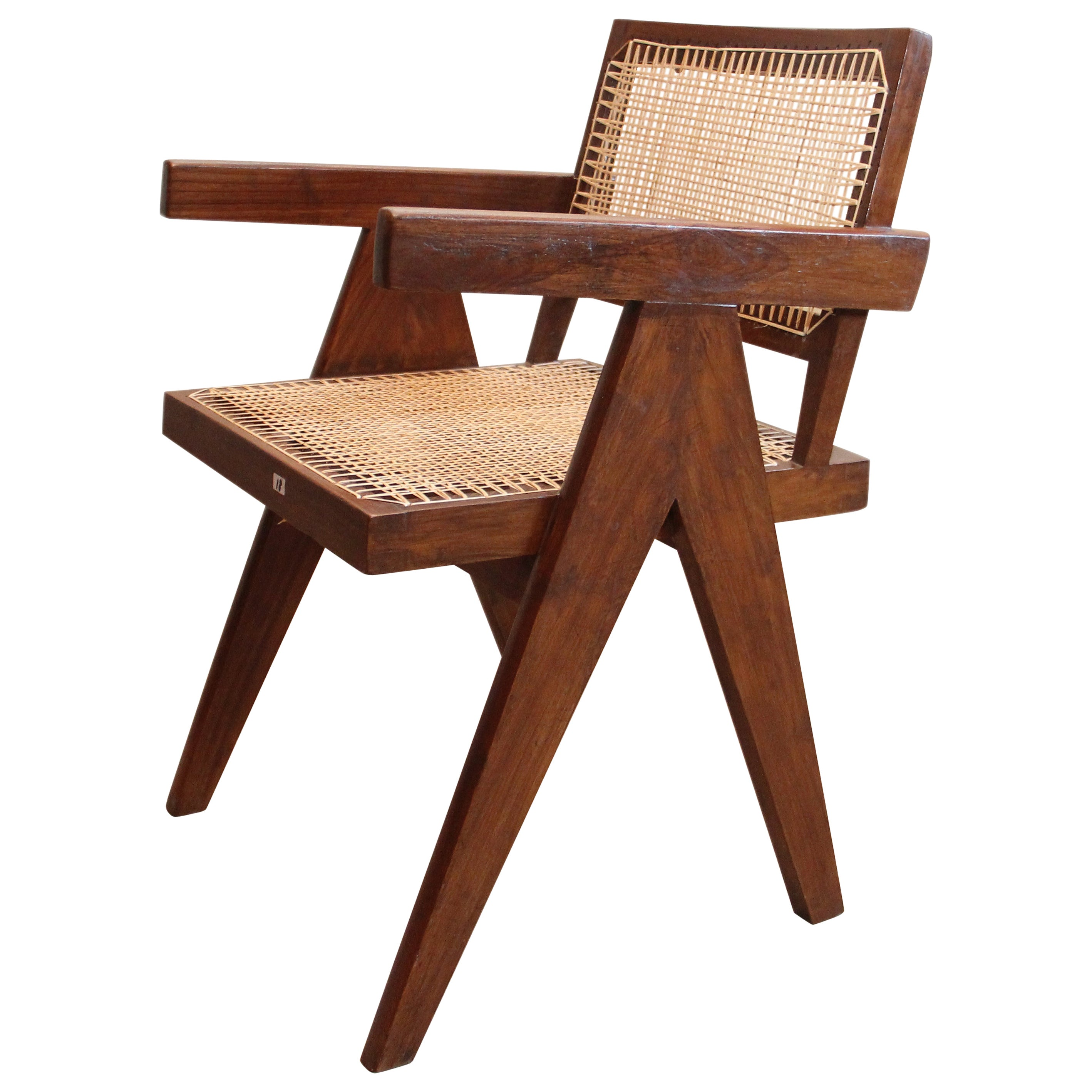 Pierre Jeanneret Office Cane Chair with Letters Authentic Mid-Century PJ-SI-28-B