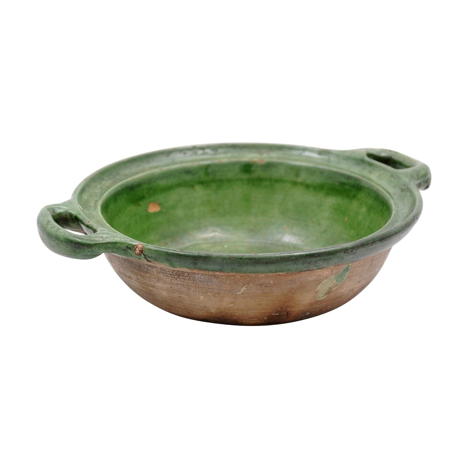 French Provincial 19th Century Green Glazed Pottery Bowl with Lateral Handles