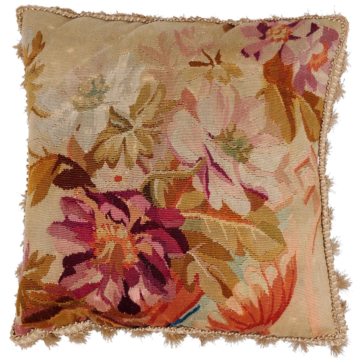 19th Century French Aubusson Woven Tapestry Pillow with Floral Décor and Tassels