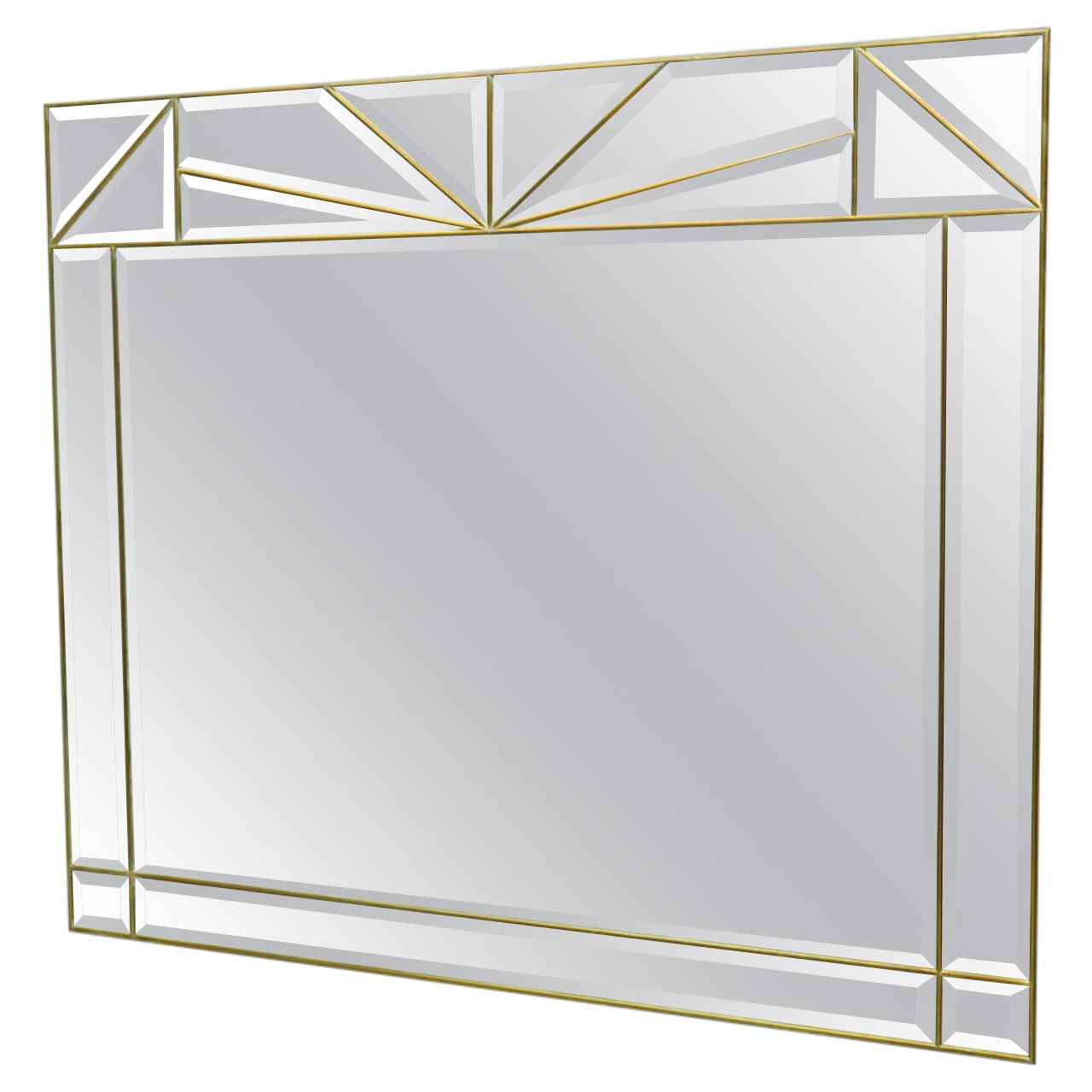 Large Wall Mirror in Brass and Glass, France, 1970s