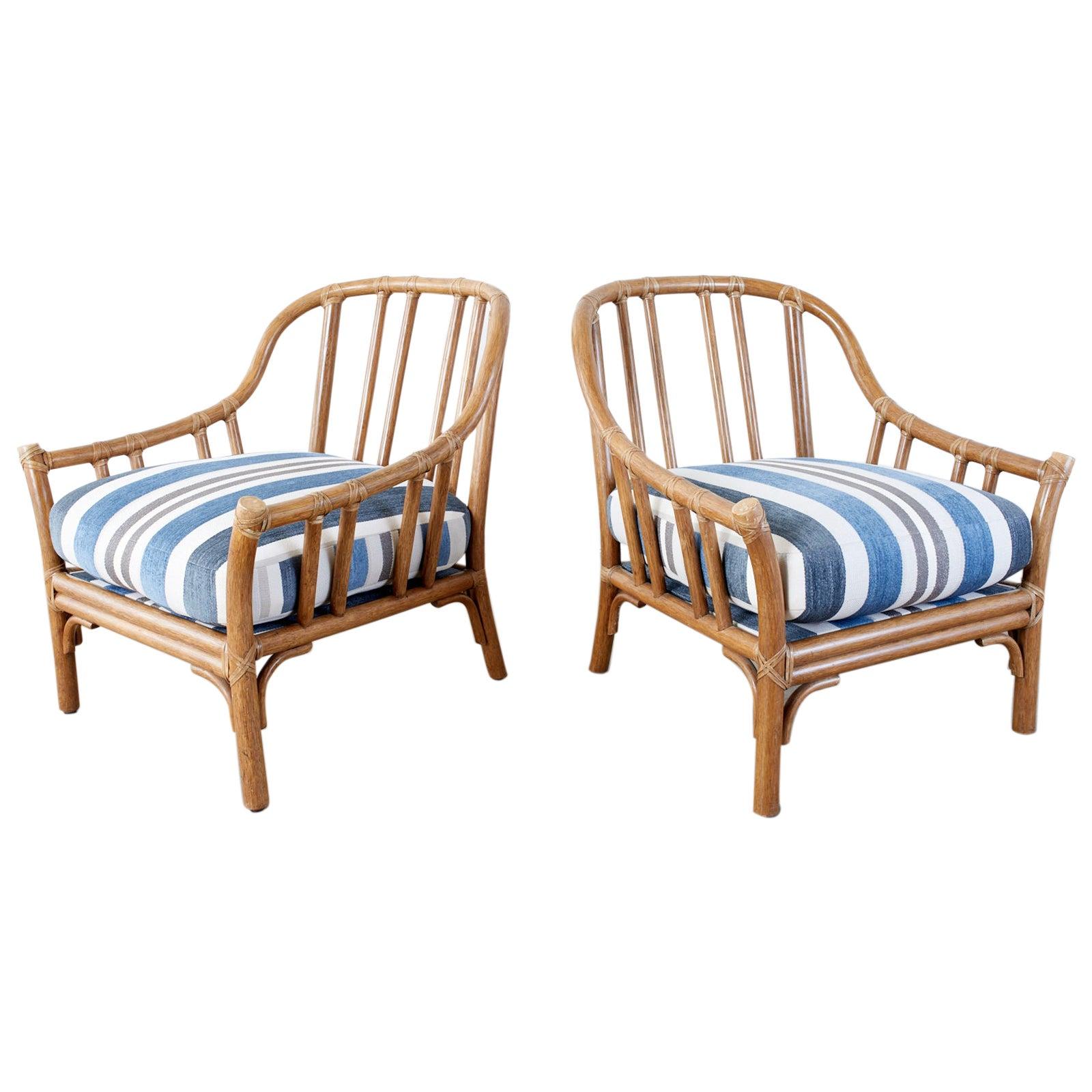 Pair of McGuire Organic Modern Rattan Lounge Chairs