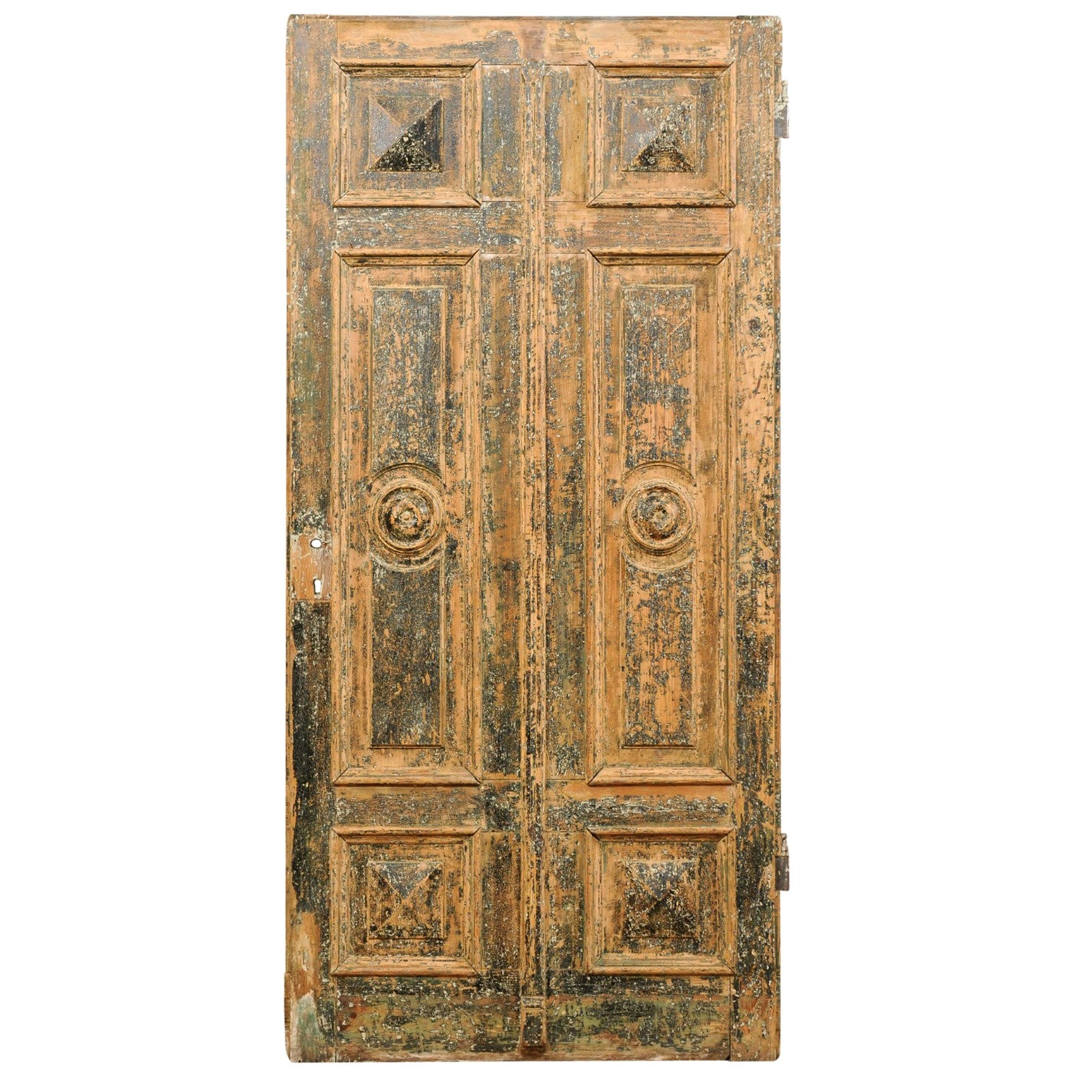 Spanish Single Nicely Carved Raised-Panel Wood Door, Early 19th Century