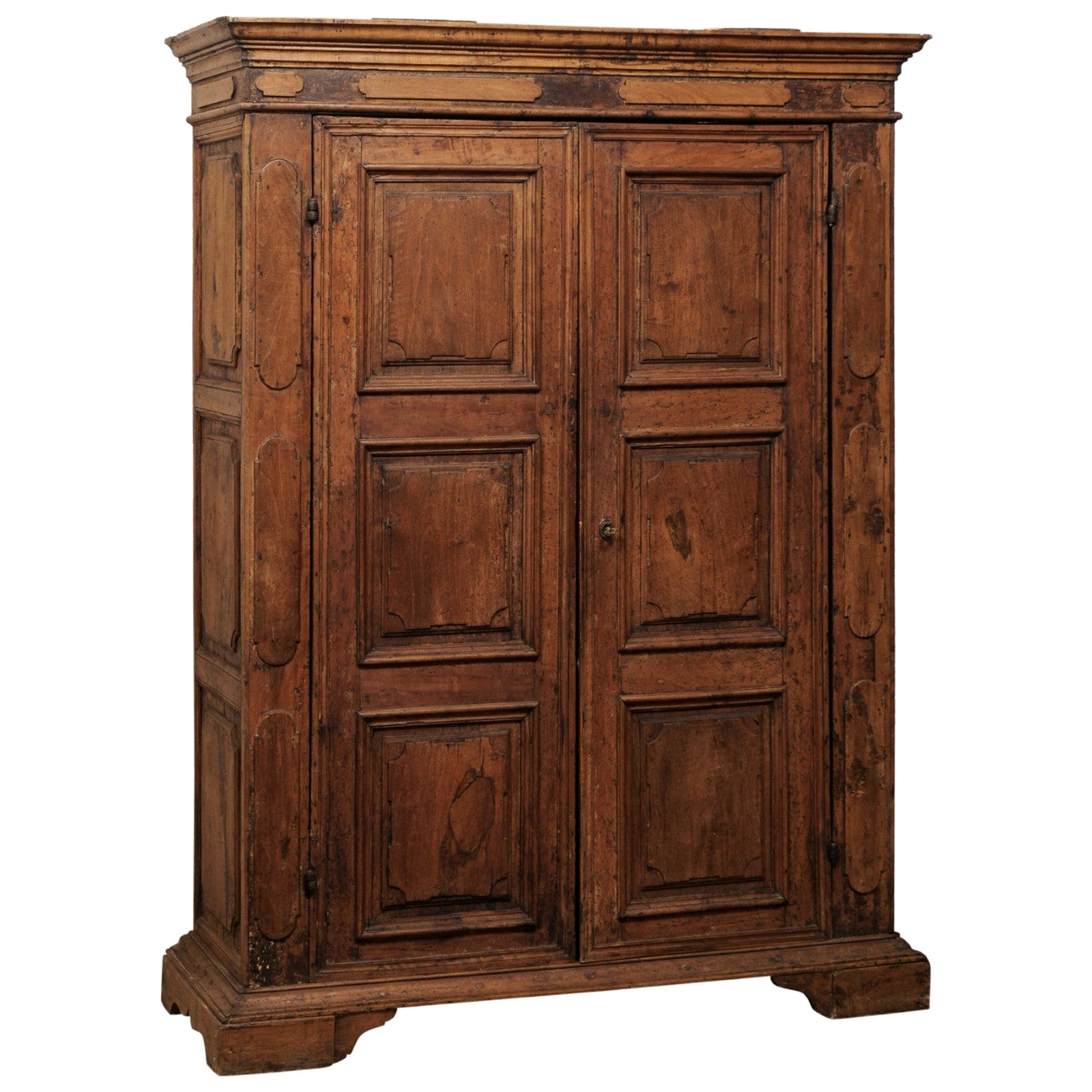 Beautiful Italian Walnut Two-Door Cabinet, Turn of 18th and 19th Century