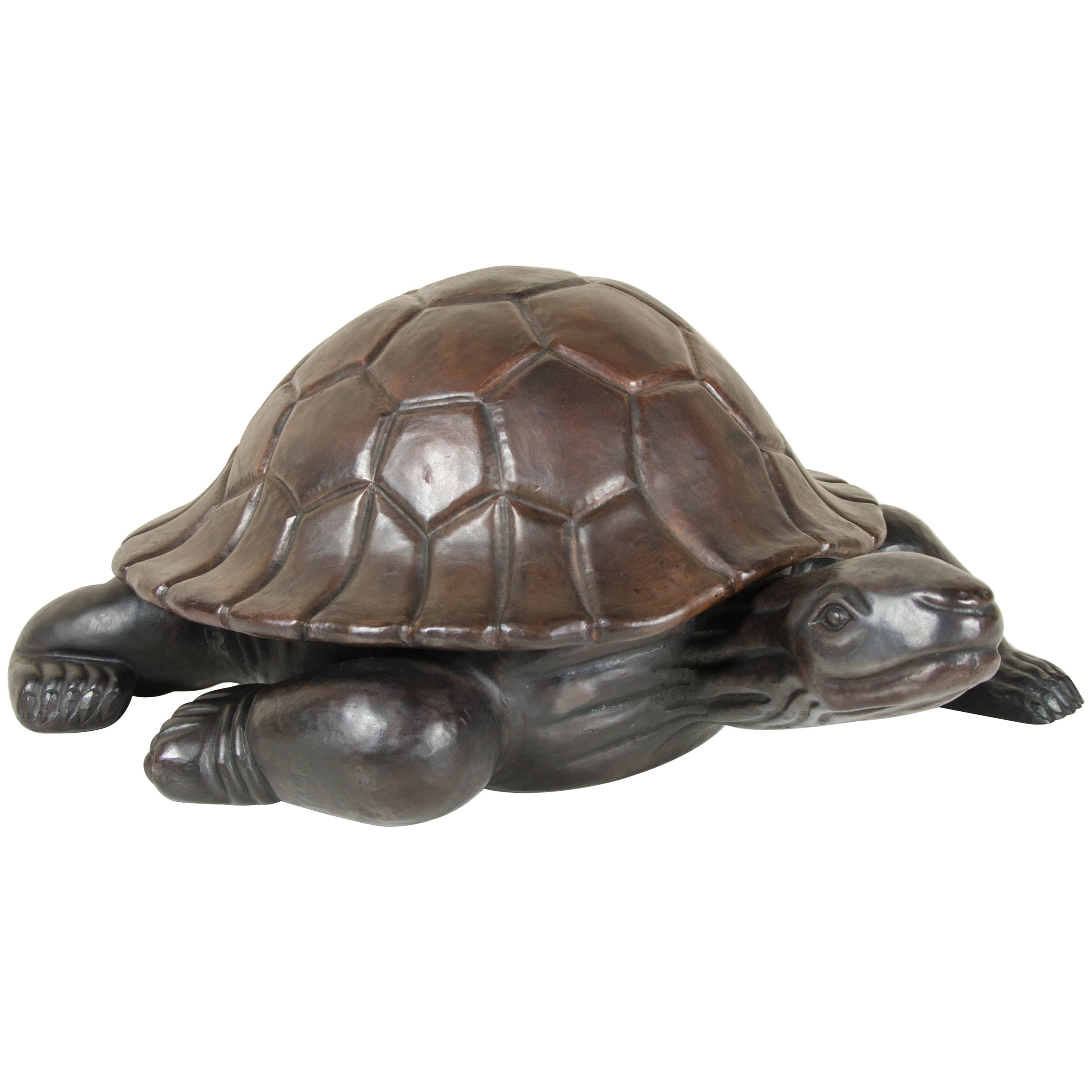 Antique Copper Turtle Sculpture by Robert Kuo, Hand Repousse, Limited Edition
