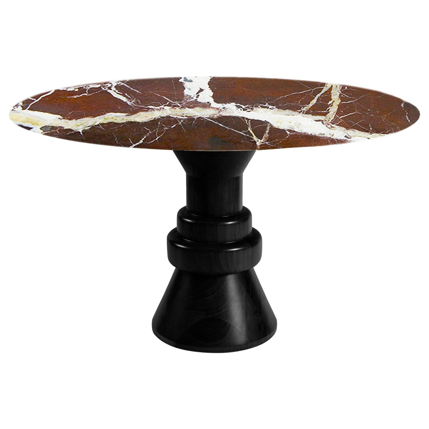 21st Century Red Marble Round Dining Table with Sculptural Black Wooden Base
