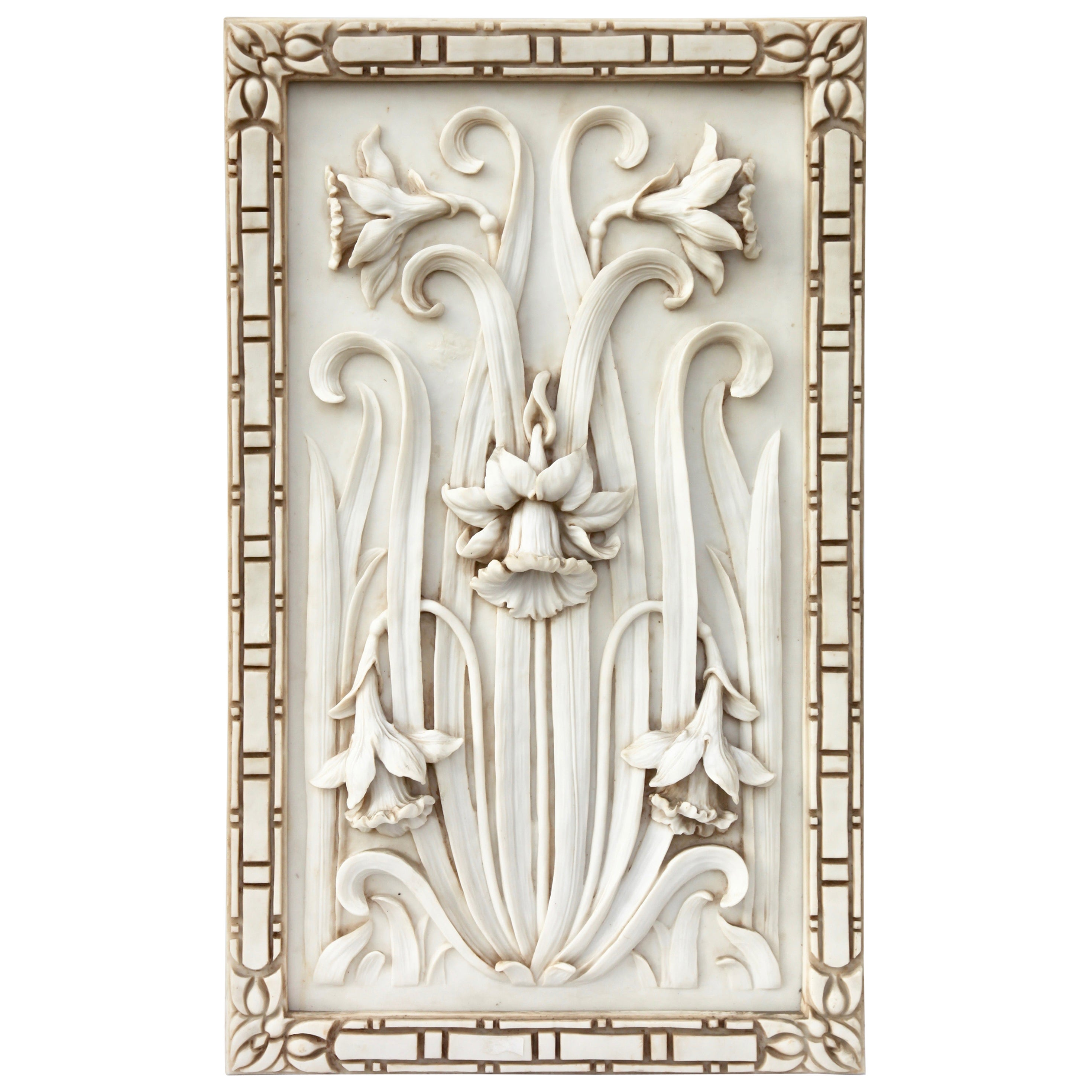 Art Nouveau 3-D Alabaster Sculptural Panel with Foliage and Daffodils / Jonquils