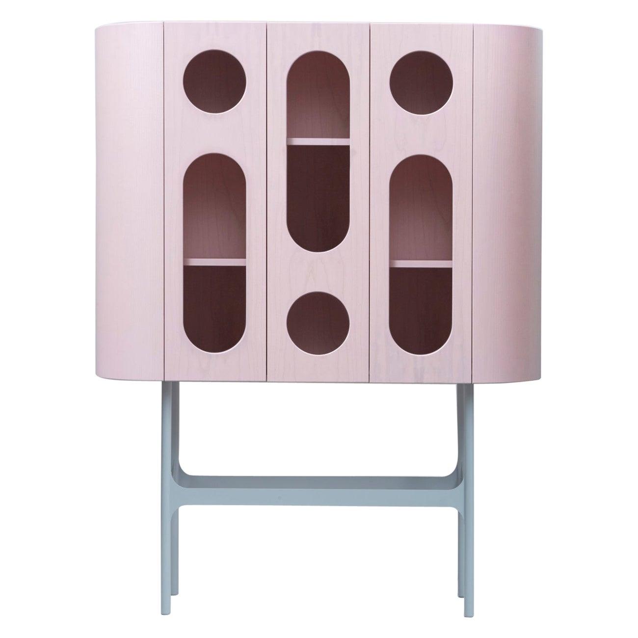 21st Century Matteo Zorzenoni Storage Case Piece Cabinet Wood Steel Legs Pink