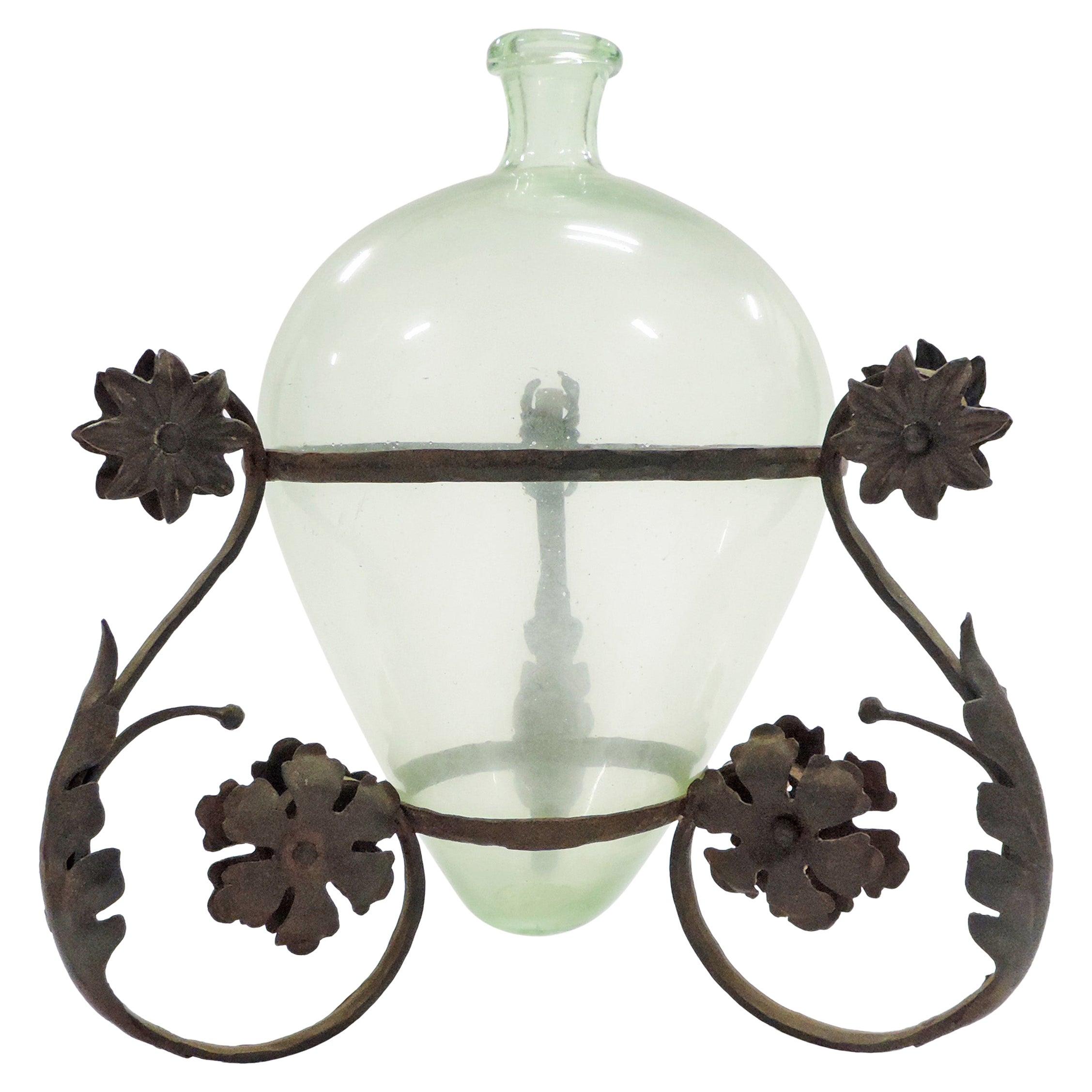Carlo Rizzarda Wrought Iron and Blown Murano Glass Vase, Italy, 1920s