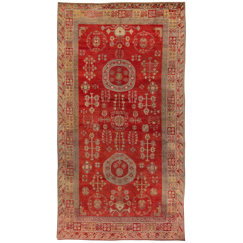Midcentury Red Samarkand / Khotan Rug
