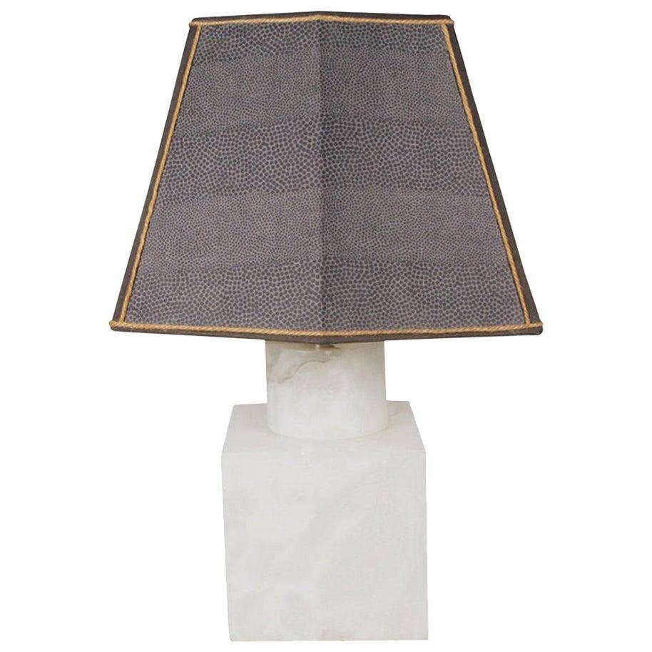 Midcentury Marble Table Lamp with Custom-Made Shark Skin Shade