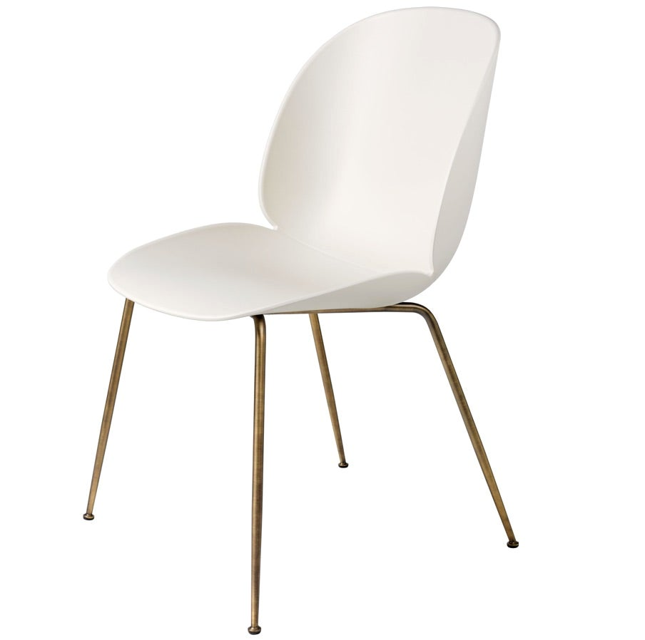GamFratesi 'Beetle' Dining Chair with Antique Brass Conic Base