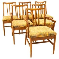 Jack Lenor Larsen Style Midcentury Walnut Dining Chairs, Set of 6