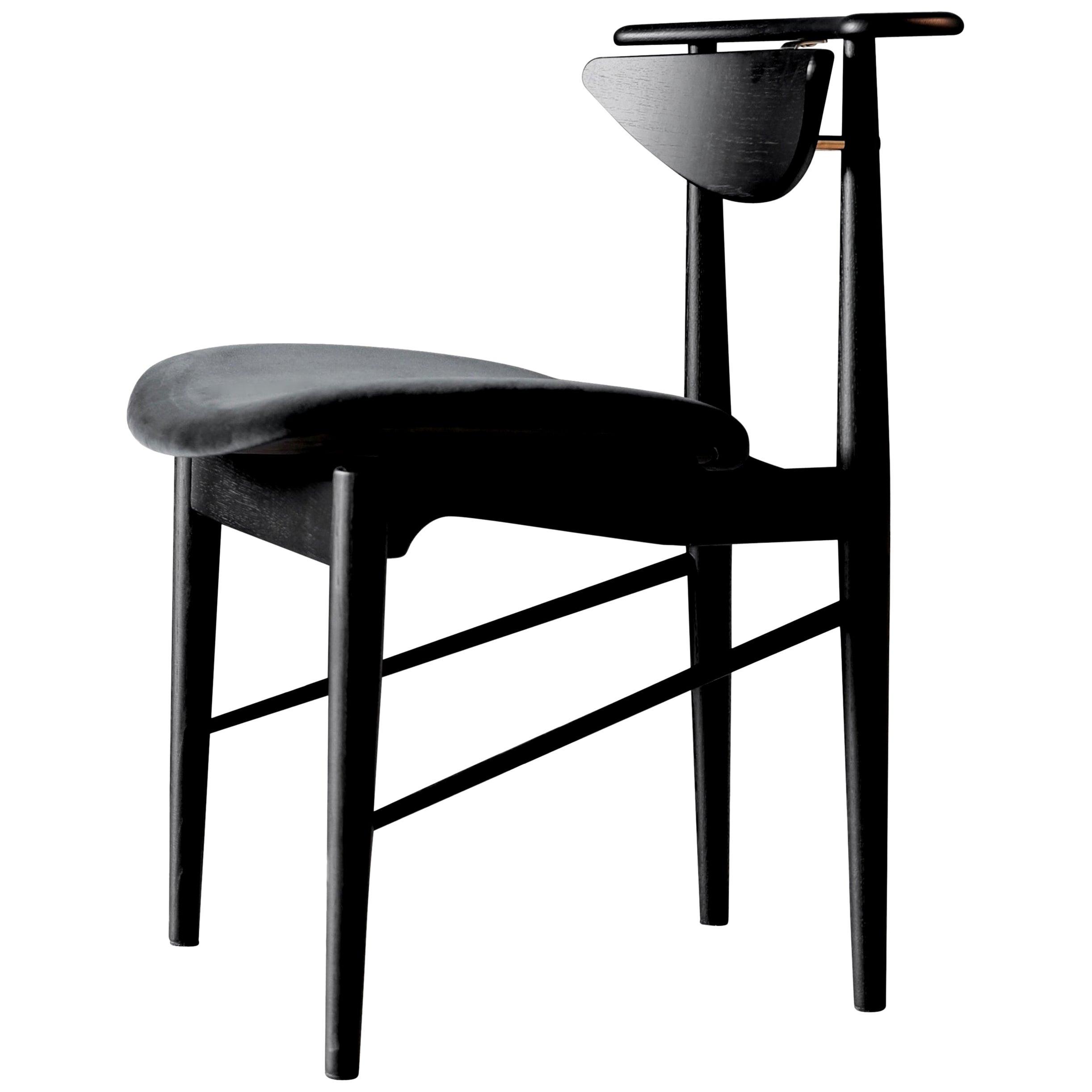 Finn Juhl Reading Chair, Black Wood and Harald Velour Fabric