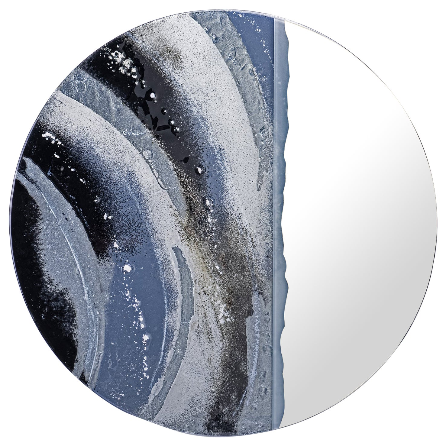 Round Mirror Moon Shadow with Murano Kind Glass in Black, White, Gray