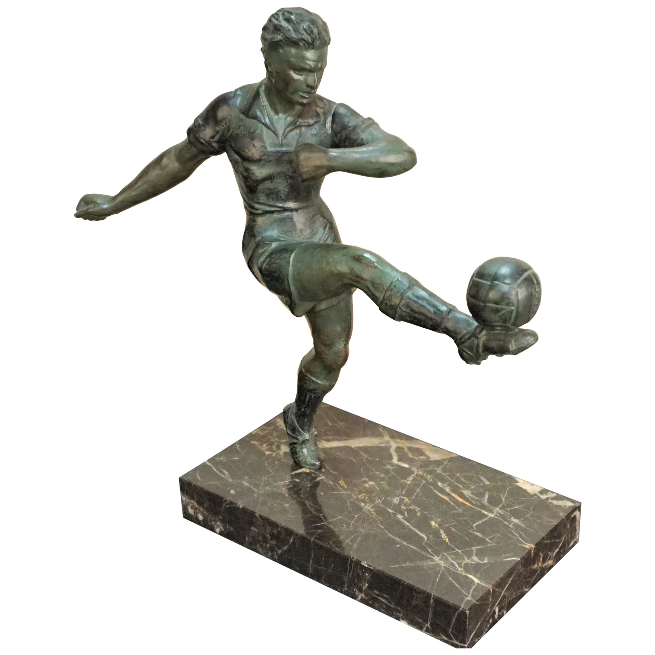 French 1930s Art Deco Soccer or Football Player Sculpture