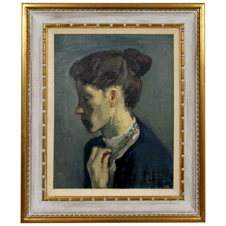 Mid-Century Modern Framed Oil on Canvas Painting Portrait Signed Raphael Soyer
