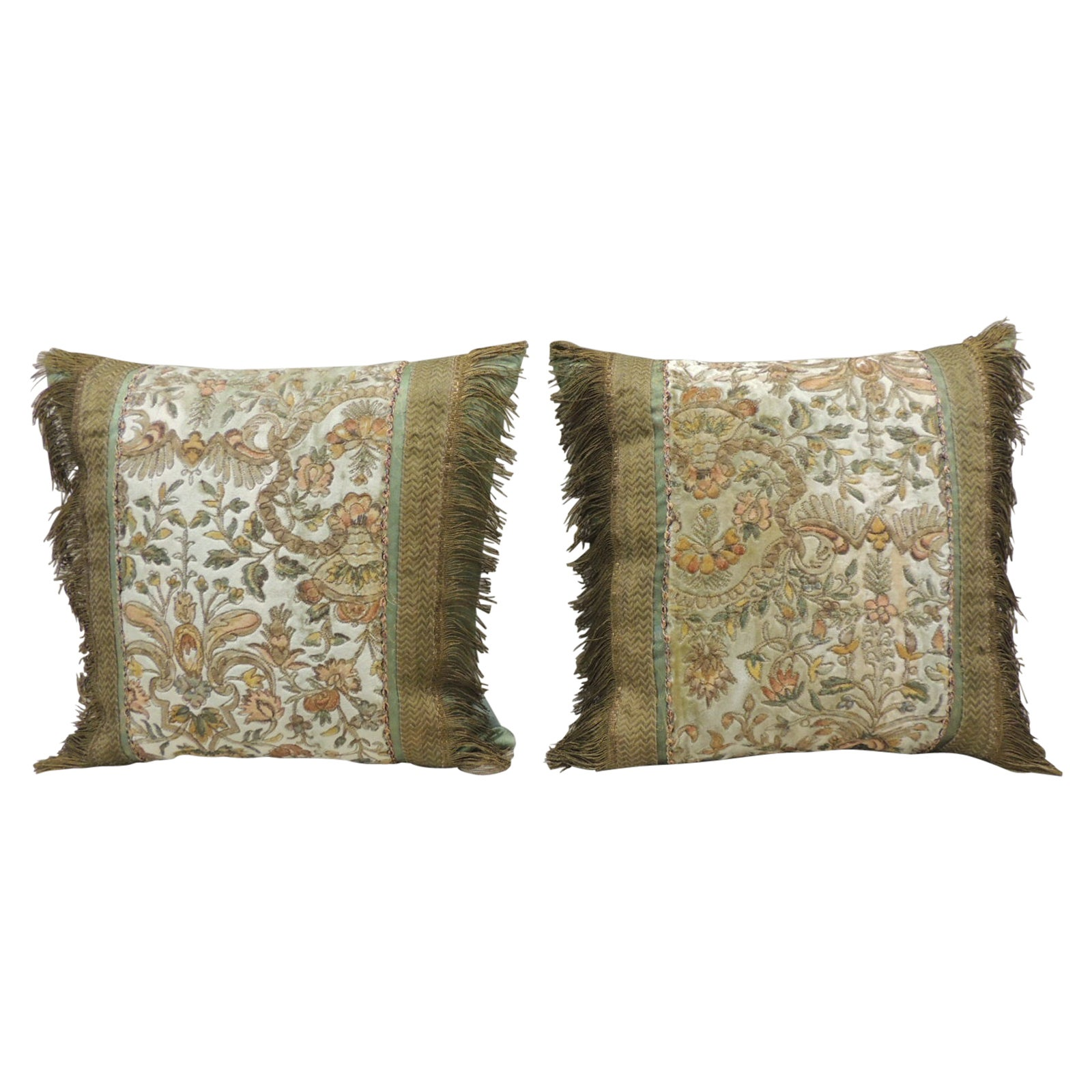 Pair of Gold and Green Antique Velvet Embroidered Square Decorative Pillows