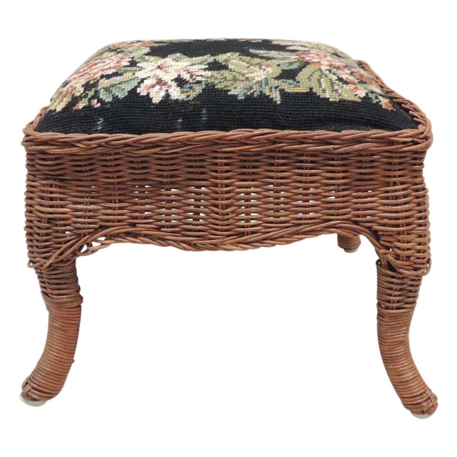 Vintage Footstool with Antique Style Needlepoint Tapestry