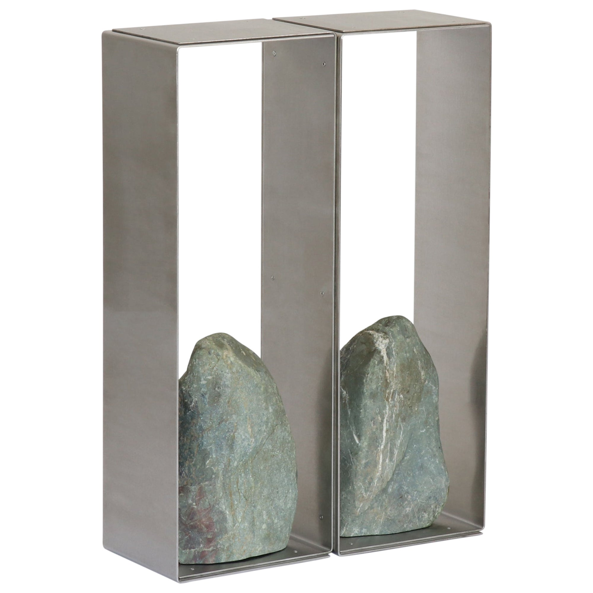 Steel and Stone Console Table 02 Batten and Kamp Minimalist