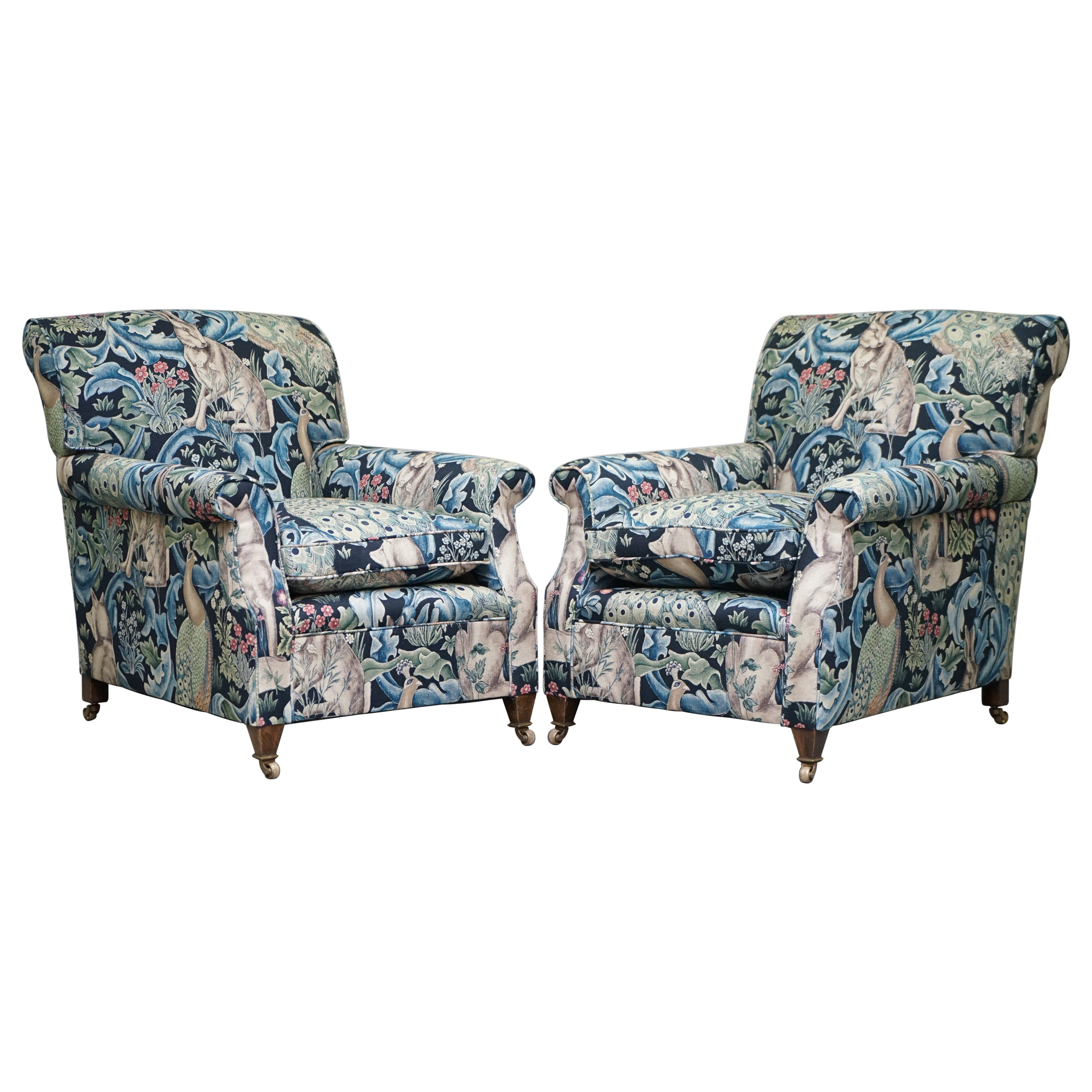 Pair of George Smith Signature Armchairs William Morris Forest Linen Fabric