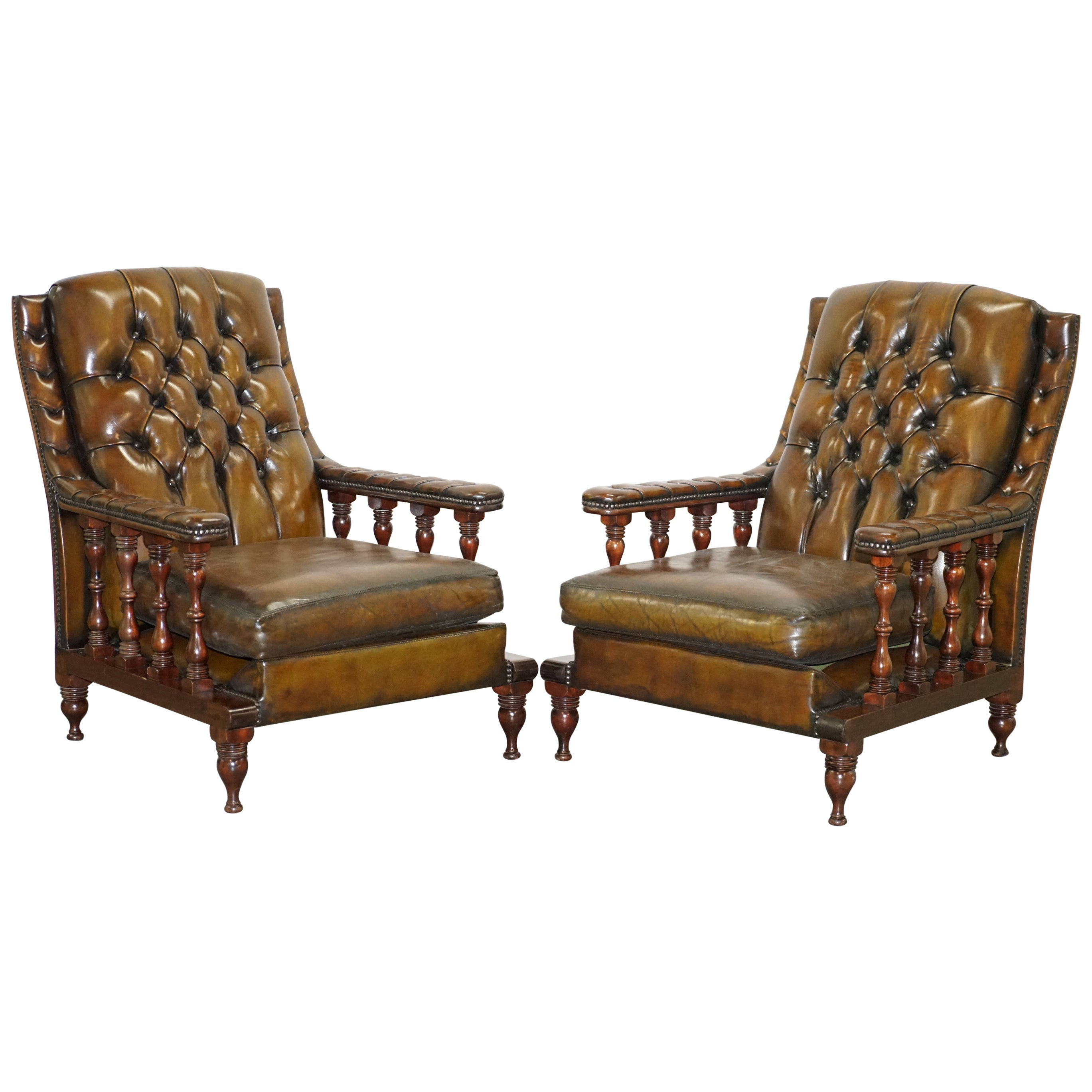 Pair of Restored Chesterfield Tufted Dutch Brown Leather Library Club Armchairs