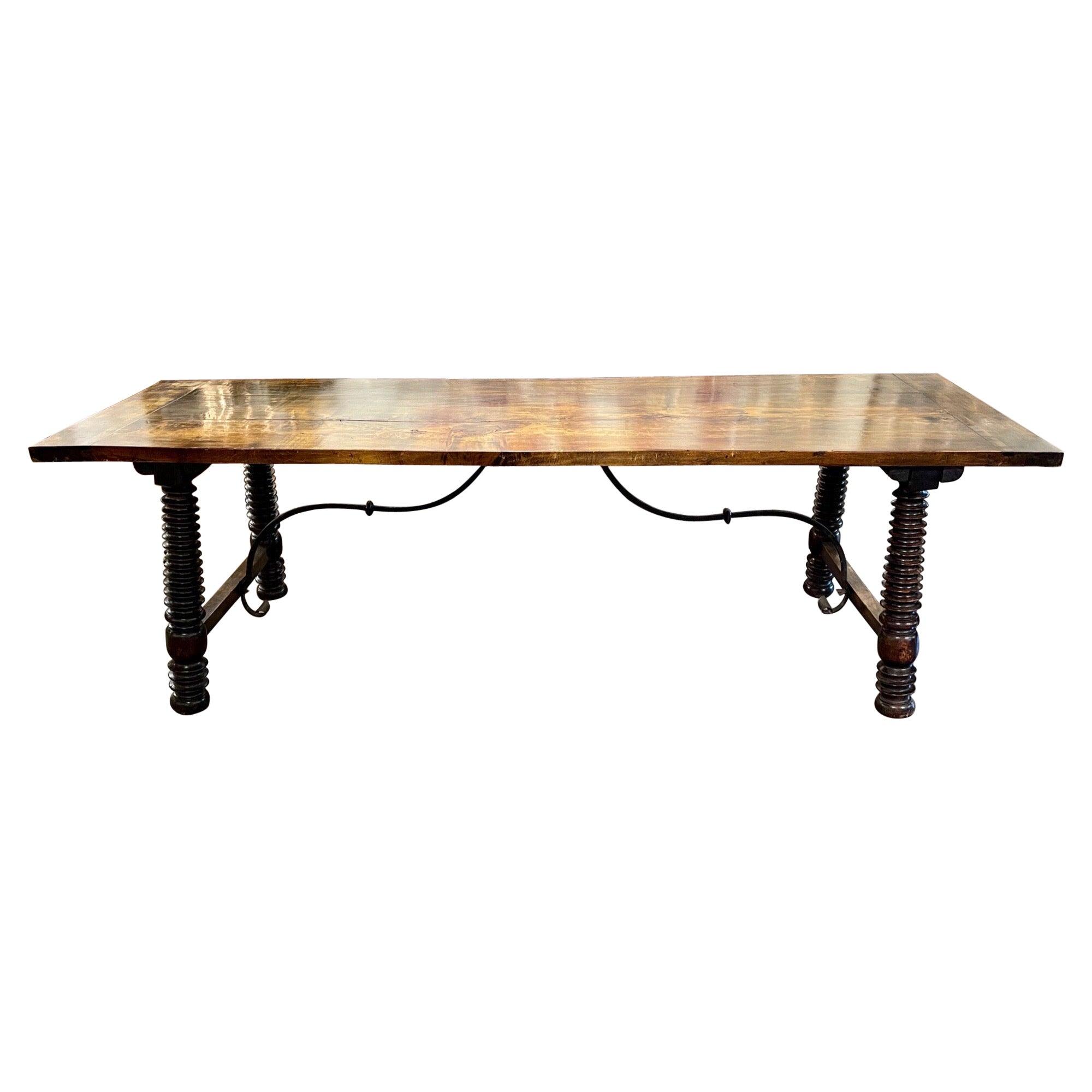 19th Century Portuguese Carved Walnut Twist Leg Trestle Table