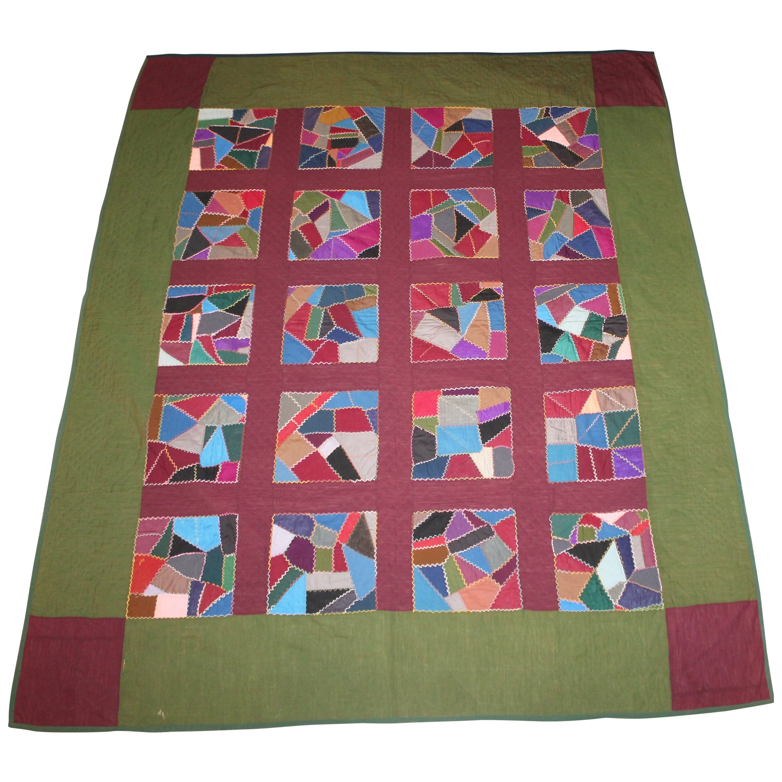 Amish 1920s Wool Contained Crazy Quilt Lancaster Co.Pa.