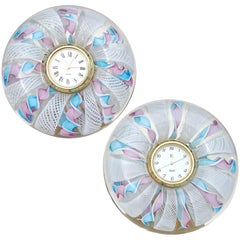 Murano Blue Pink White Ribbons Italian Art Glass Decorative Round Desk Clock