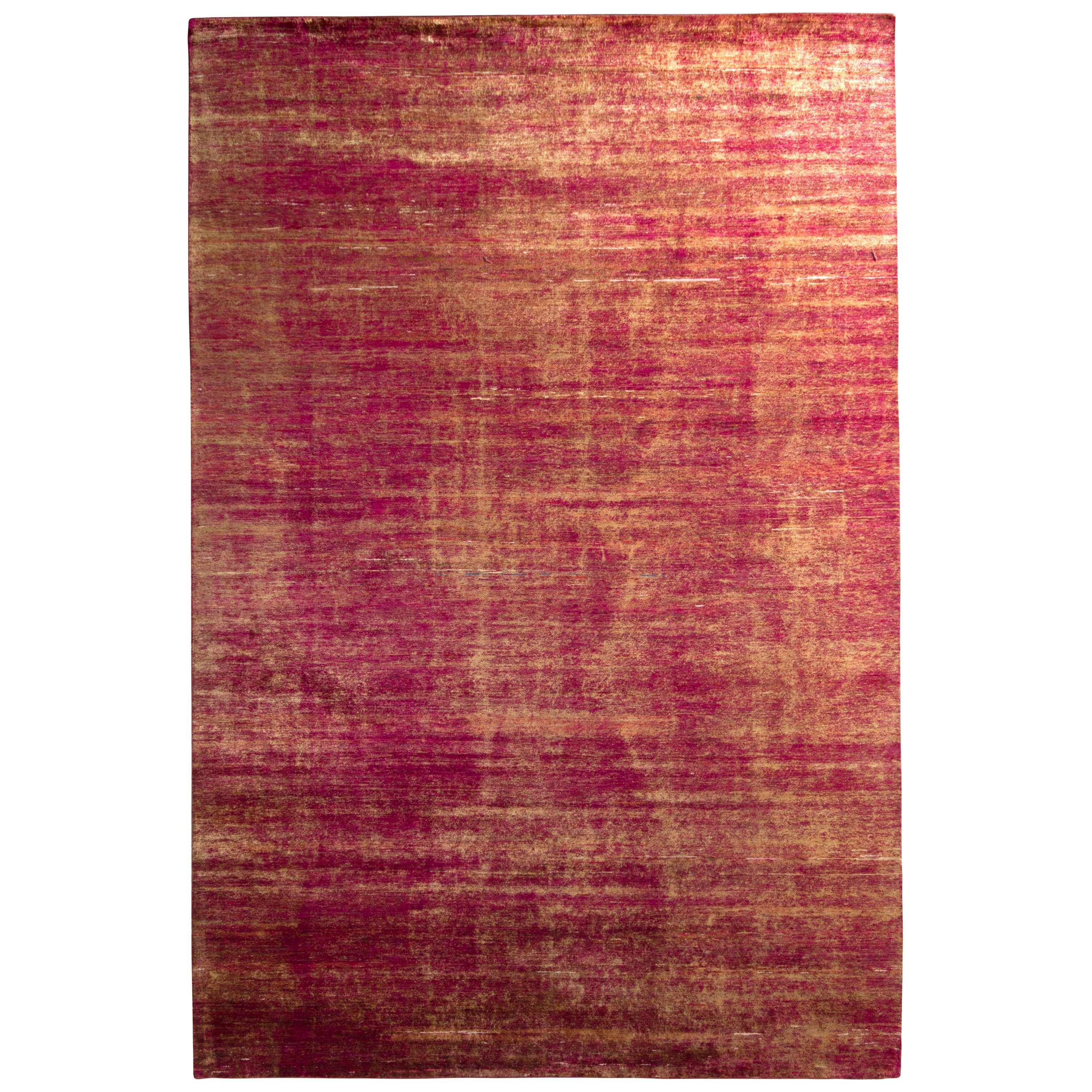 Handmade Modern Rug Red and Gold Abrashed Striped Pattern by Rug & Kilim