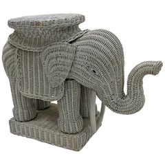 Fun Vintage Wicker and Rattan Elephant End Table