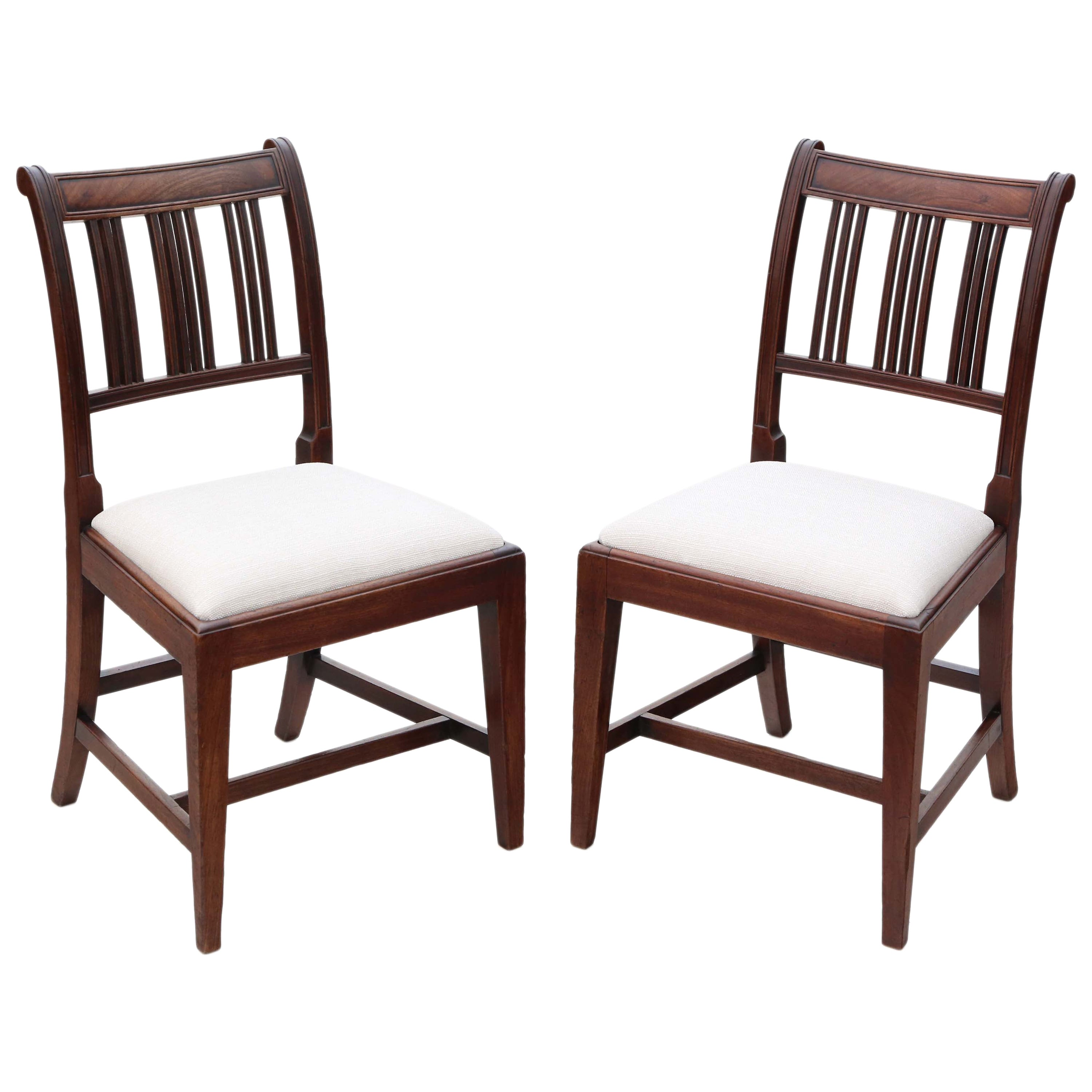 Antique Pair of Georgian Mahogany Dining Side Hall Bedroom Chairs