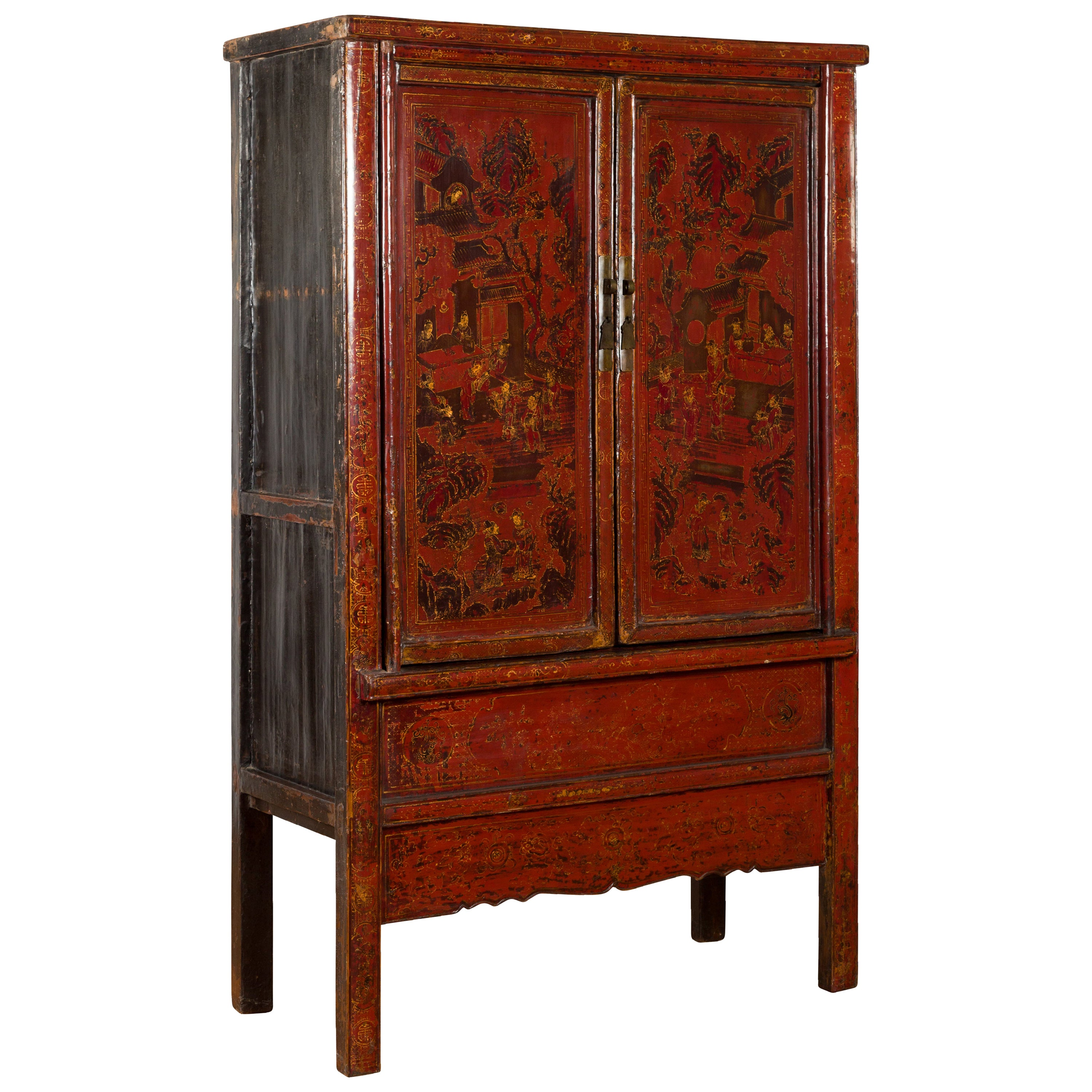 Chinese Qing Dynasty 19th Century Red Cabinet with Hand Painted Chinoiseries