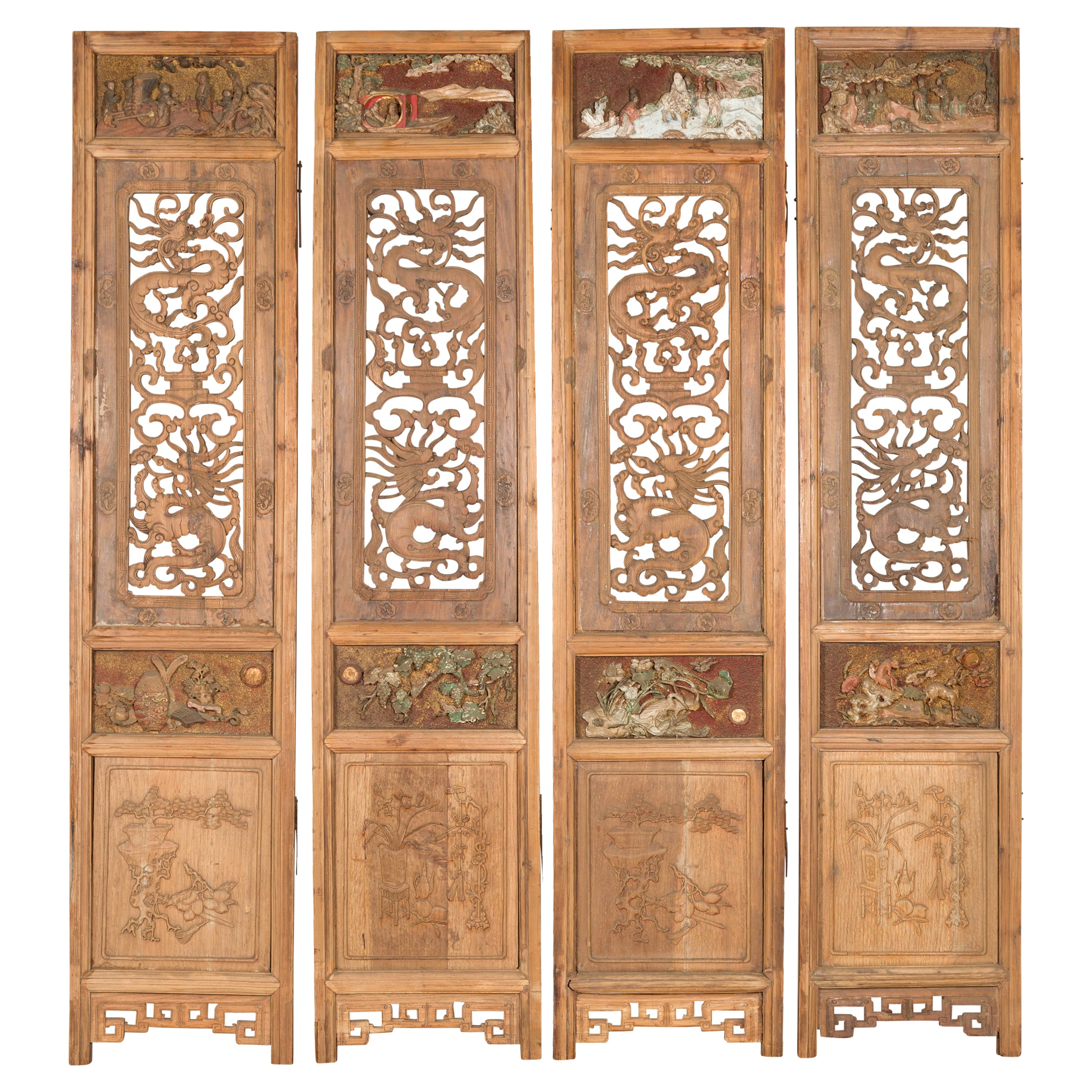Set of Four Chinese 19th Century Qing Dynasty Carved Wooden Screens with Dragons