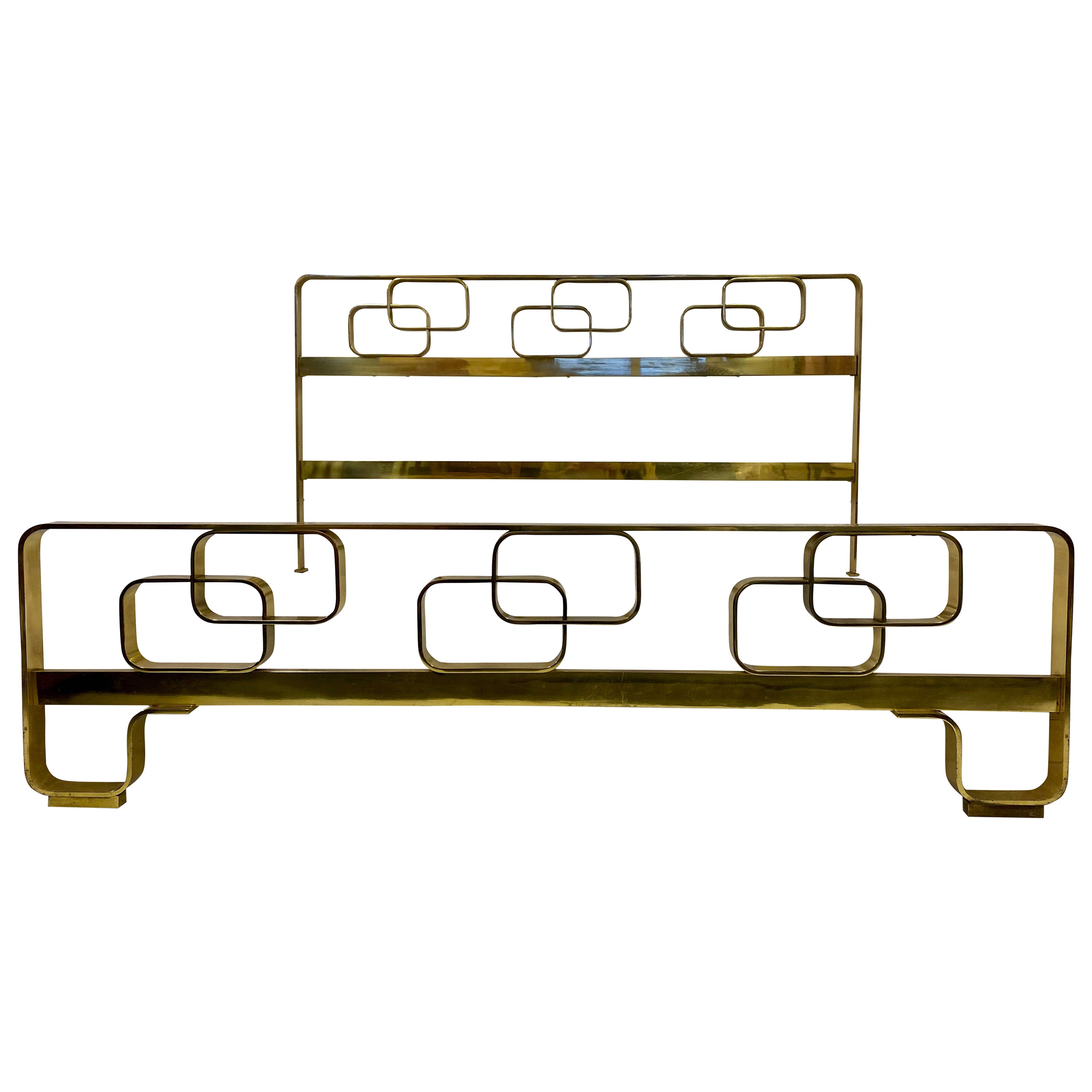 1970s Italian Solid Brass Bed by Luciano Frigerio