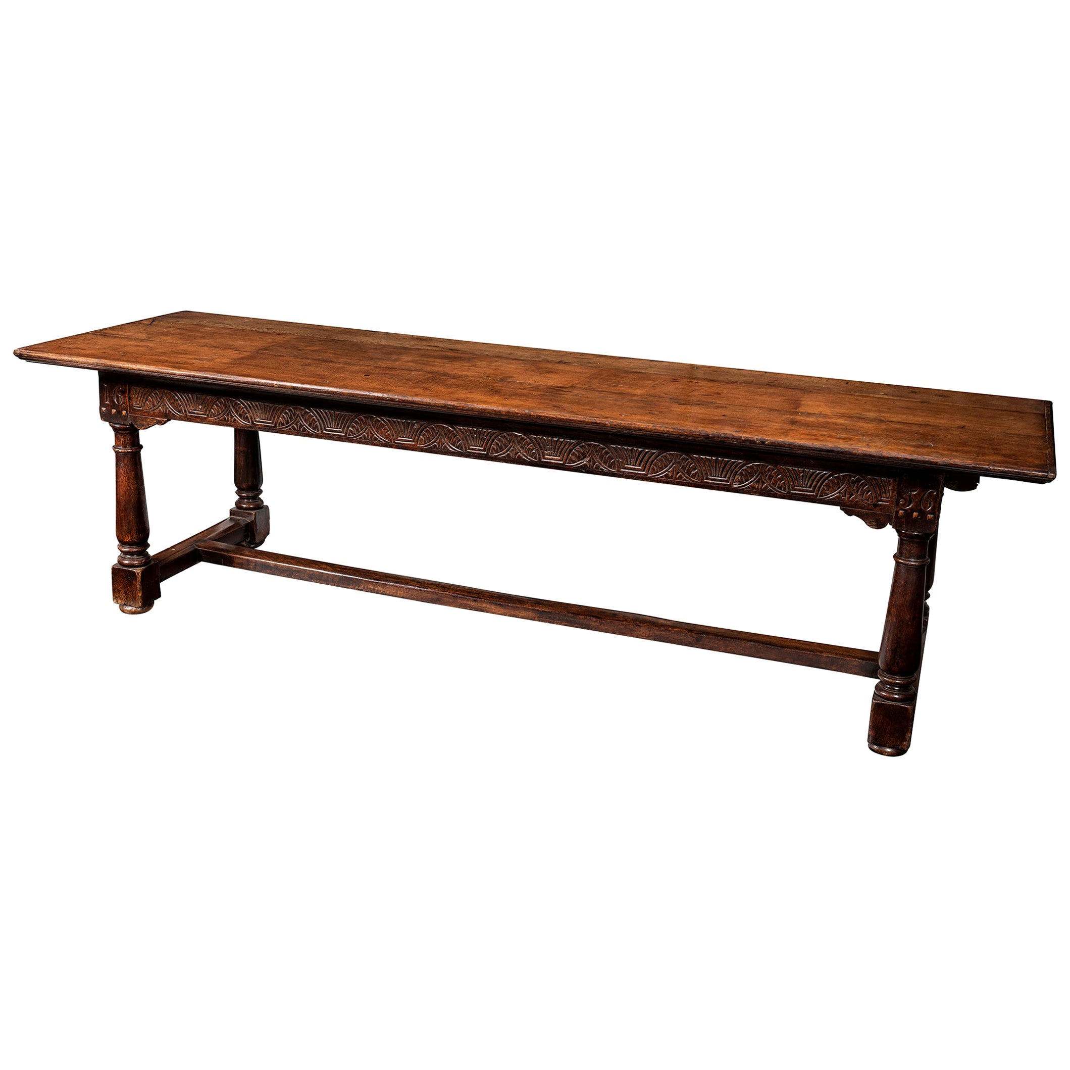 English Cromwellian Oak Refectory Table, 17th Century