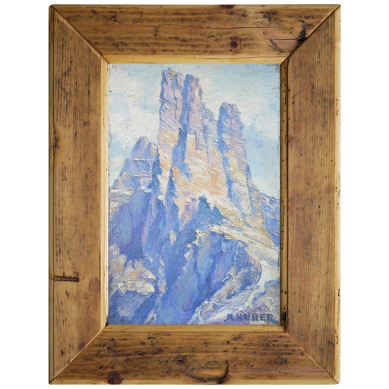 Mountain Painting, Italian Dolomites, Oil on Cardboard, A. Huber, 1940s
