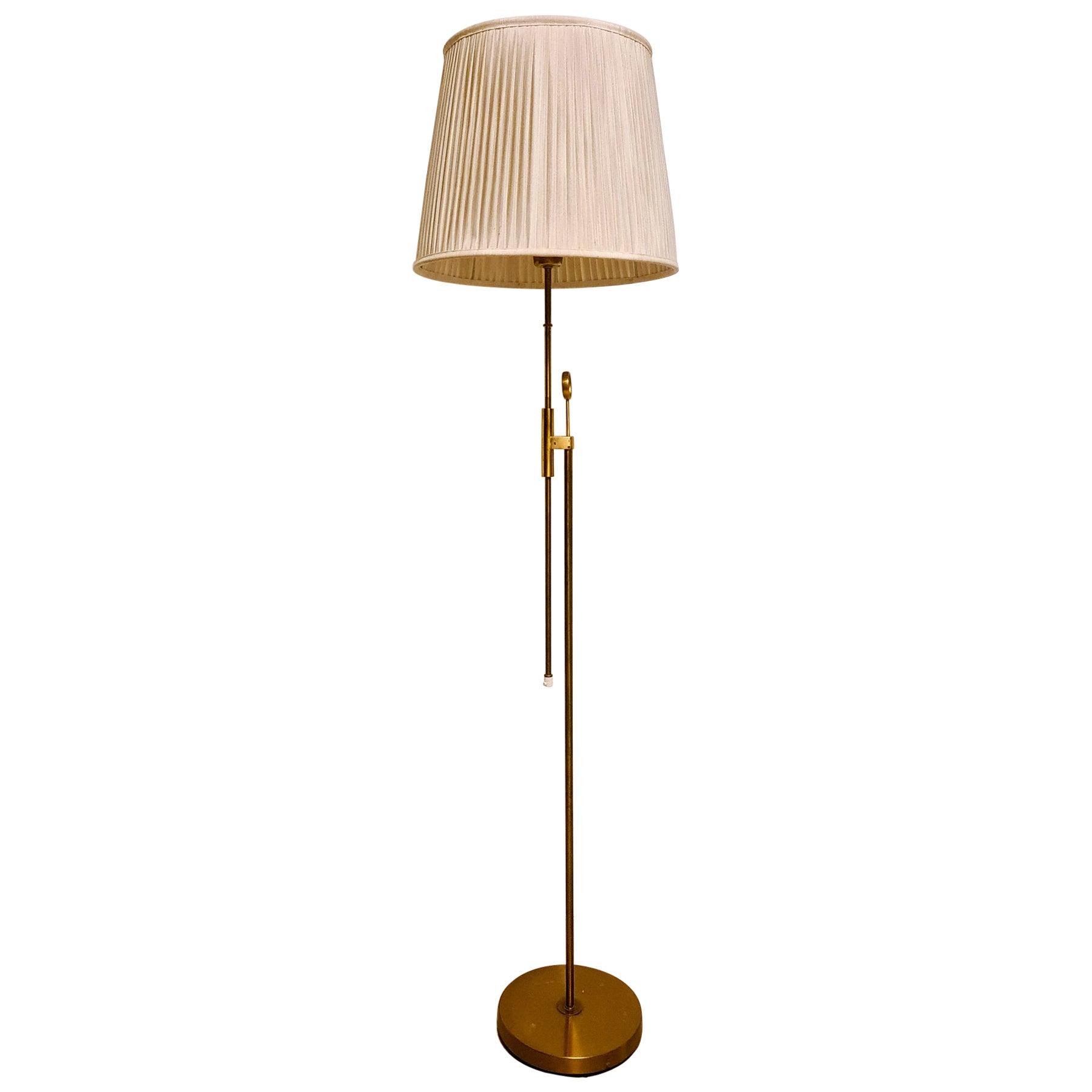 Midcentury Brass Floor Lamp Falkenbergs Belysning, Sweden, 1960s