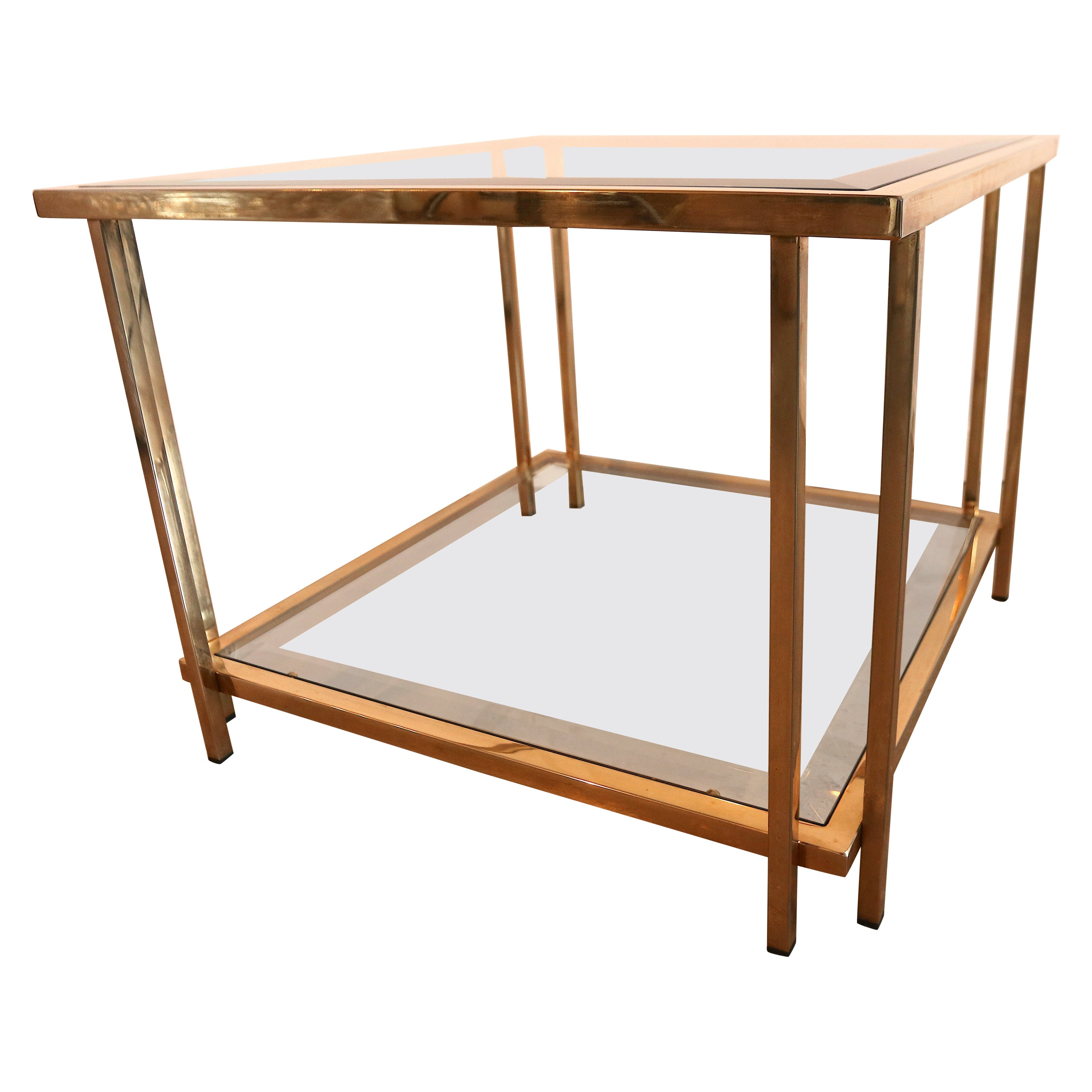 Romeo Rega Style Gold Plated 2-Tier Glass Coffee or Cocktail Table