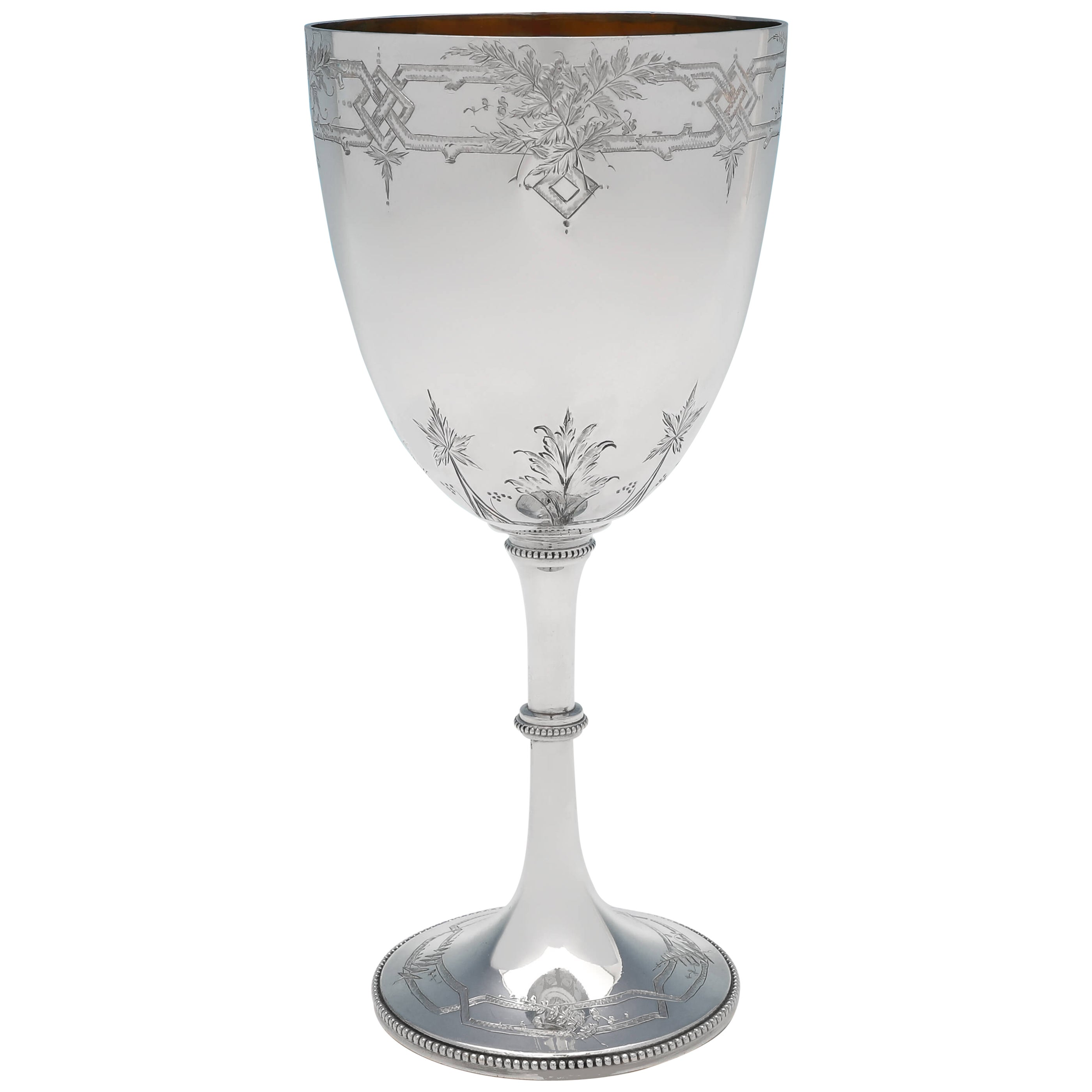 Antique Victorian Sterling Silver Goblet, Naturalistic Engraving, Made in 1876