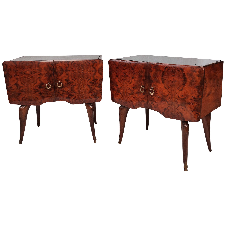 Pair of Midcentury Italian Art Deco Nightstands Bedside Tables Burl Brass Glass