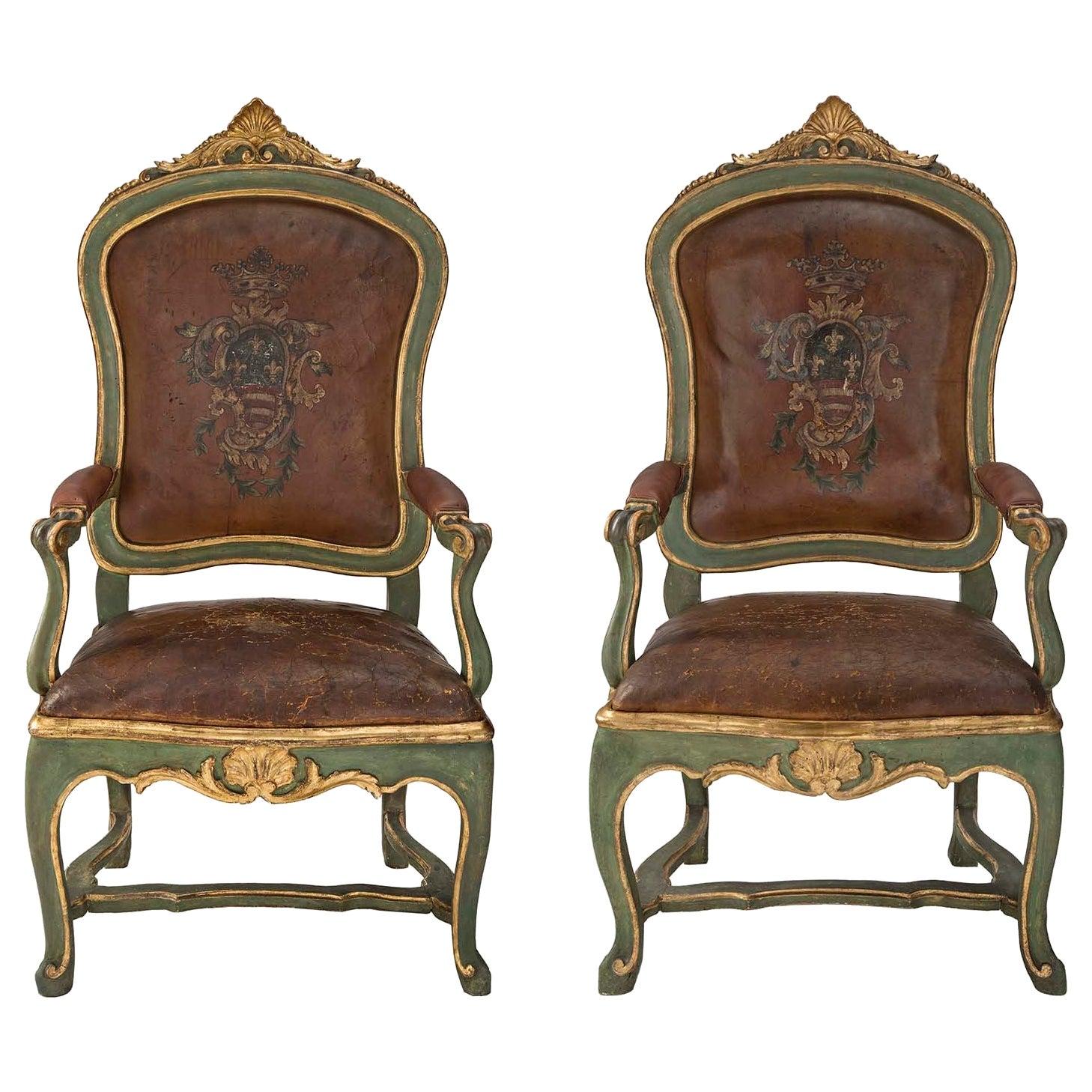Pair of Italian Mid-18th Century Roman Armchairs