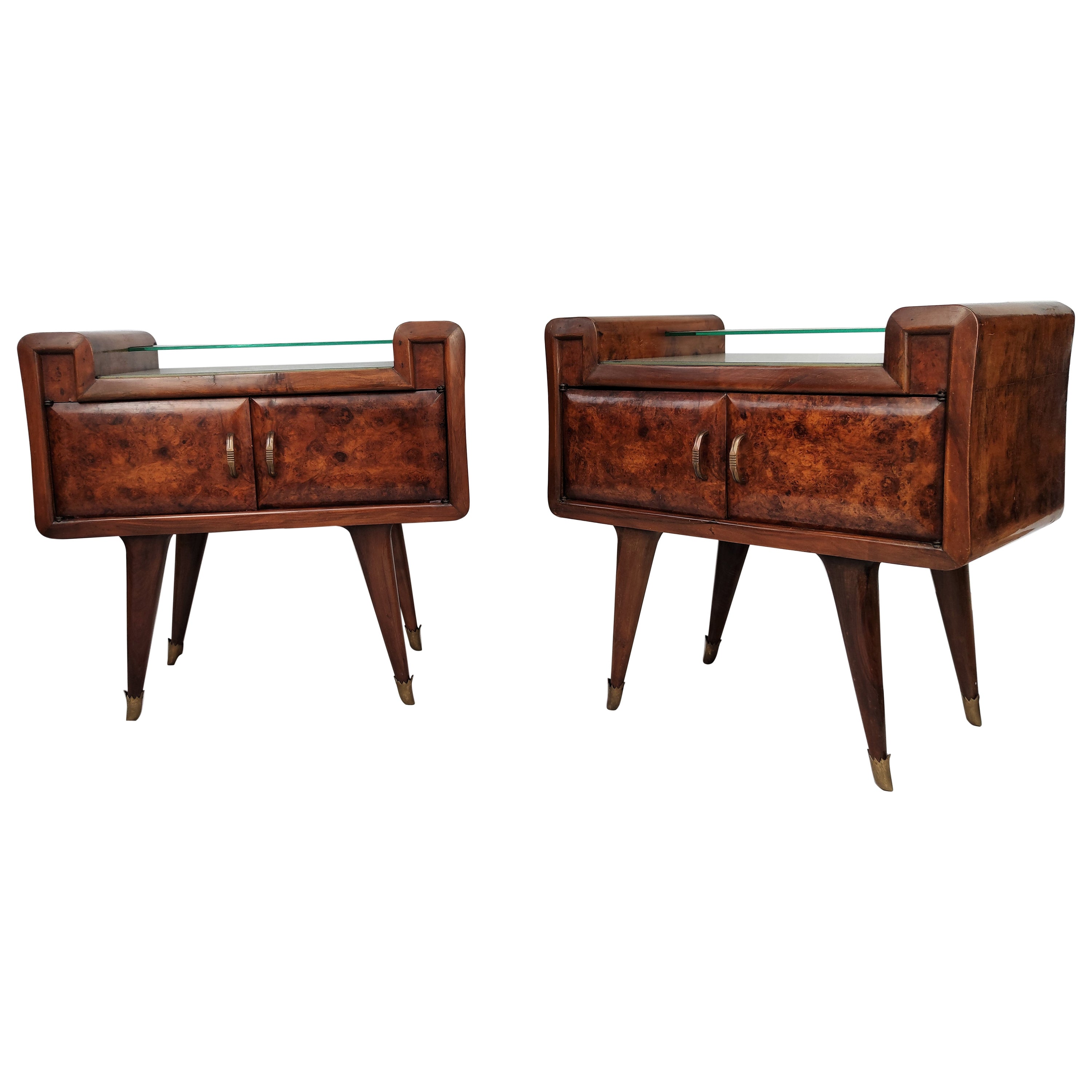 Italian Midcentury Art Deco Nightstands Bed Side Tables Briar Wood Brass & Glass