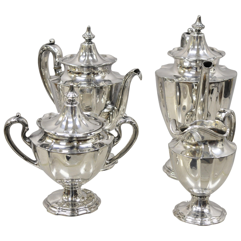 Reed & Barton 3890 Silver Plate Tea Coffee Pot Creamer Service Set of 4 Pieces