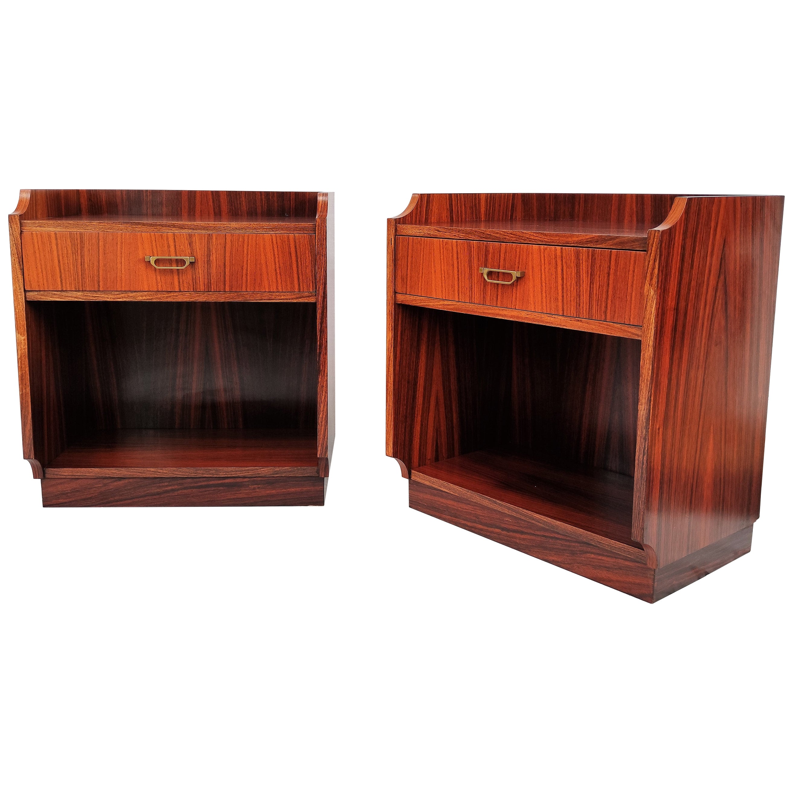 Pair of 1960s Italian Midcentury Nightstands Bed Side Tables in Wood and Brass