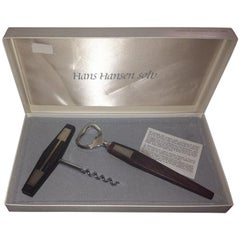 Hans Hansen Sterling Silver and Wood Bottle Opener and Corkscrew
