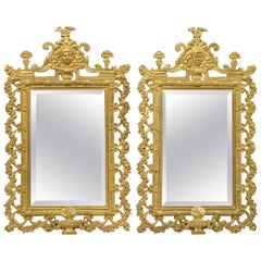 Pair of French Bronze Dore Mirrors with Mascarons and Floral Motifs, circa 1880