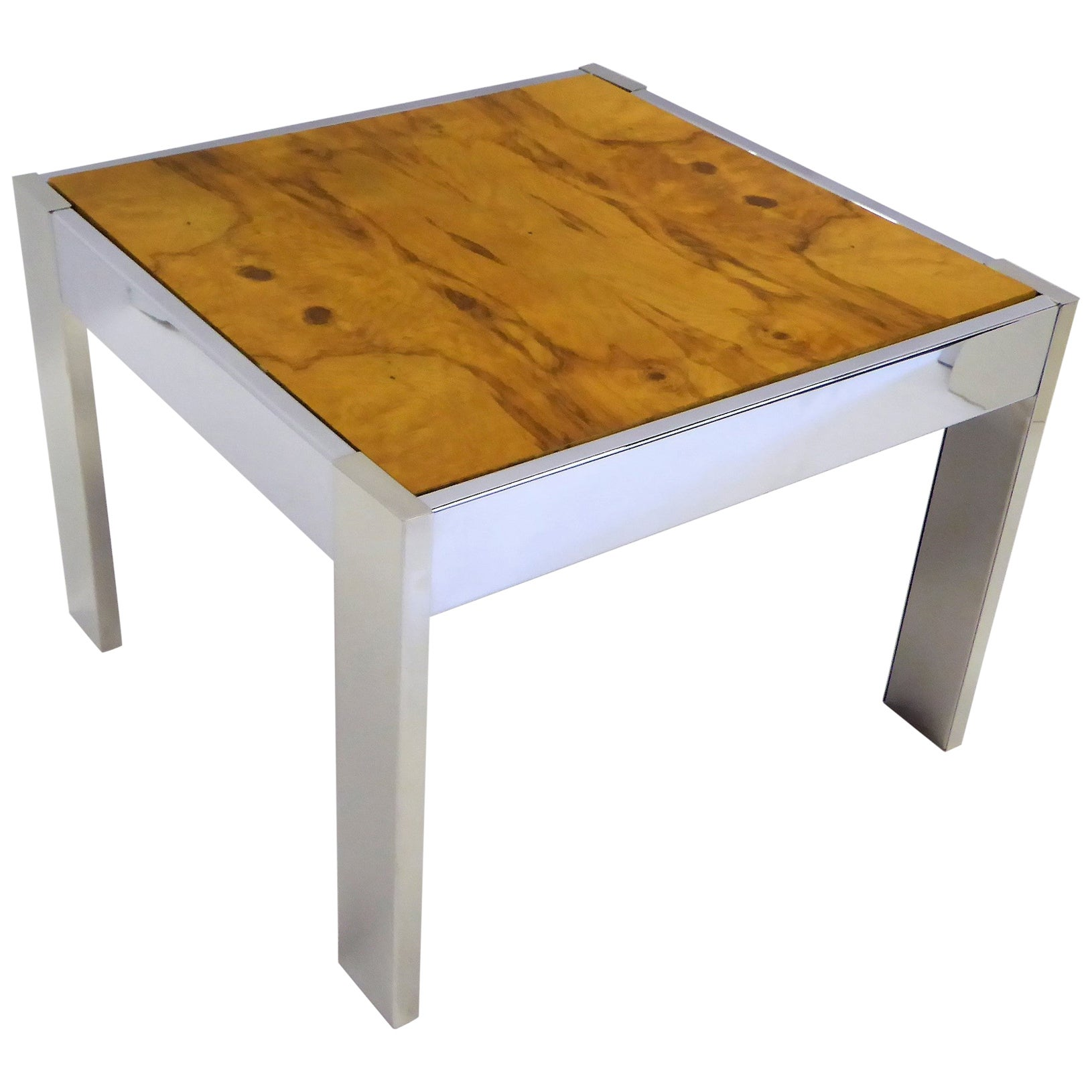 1970s Modern Chrome and Burl Wood Side Table in the Style of Milo Baughman