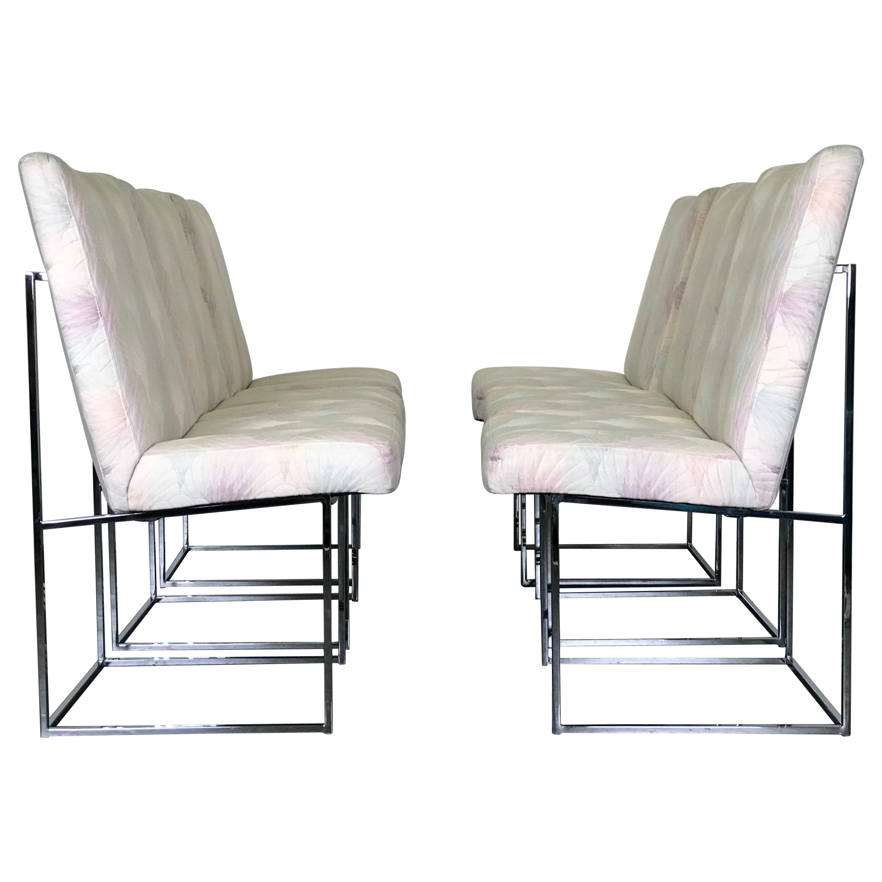 Six Mid Century Modern Milo Baughman Dining Chairs for Thayer Coggin in Chrome