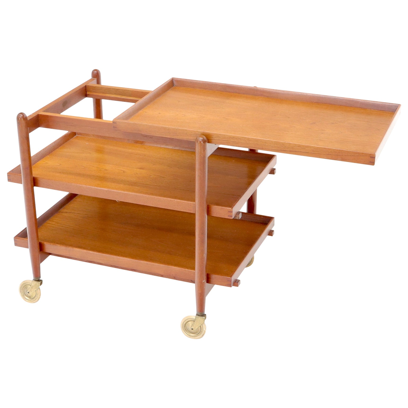 Danish Mid-Century Modern Tree Tiered Rolling Serving Cart